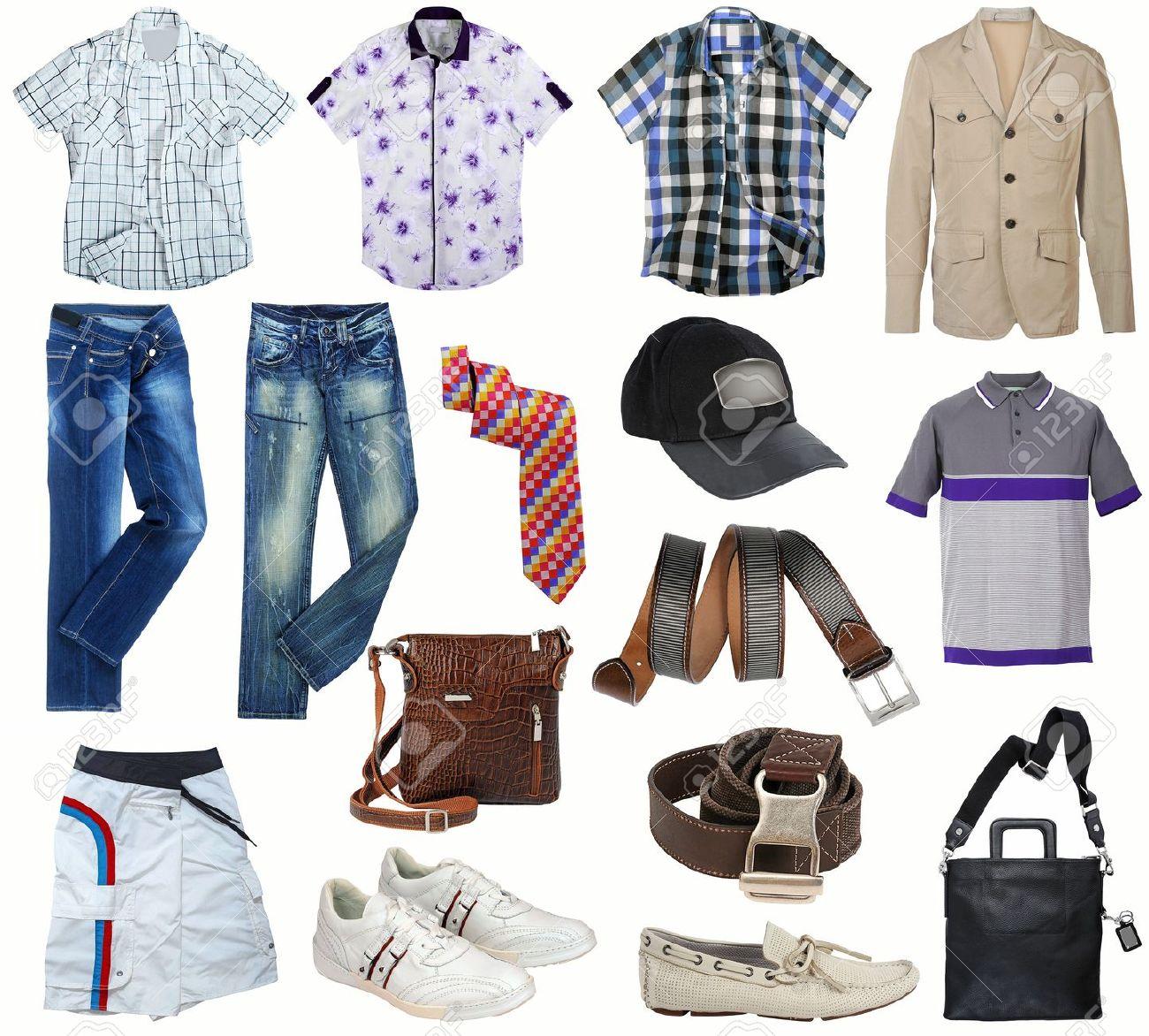 1a16e9f1a9 Colección de ropa masculina aislado en blanco Foto de archivo - 16885449