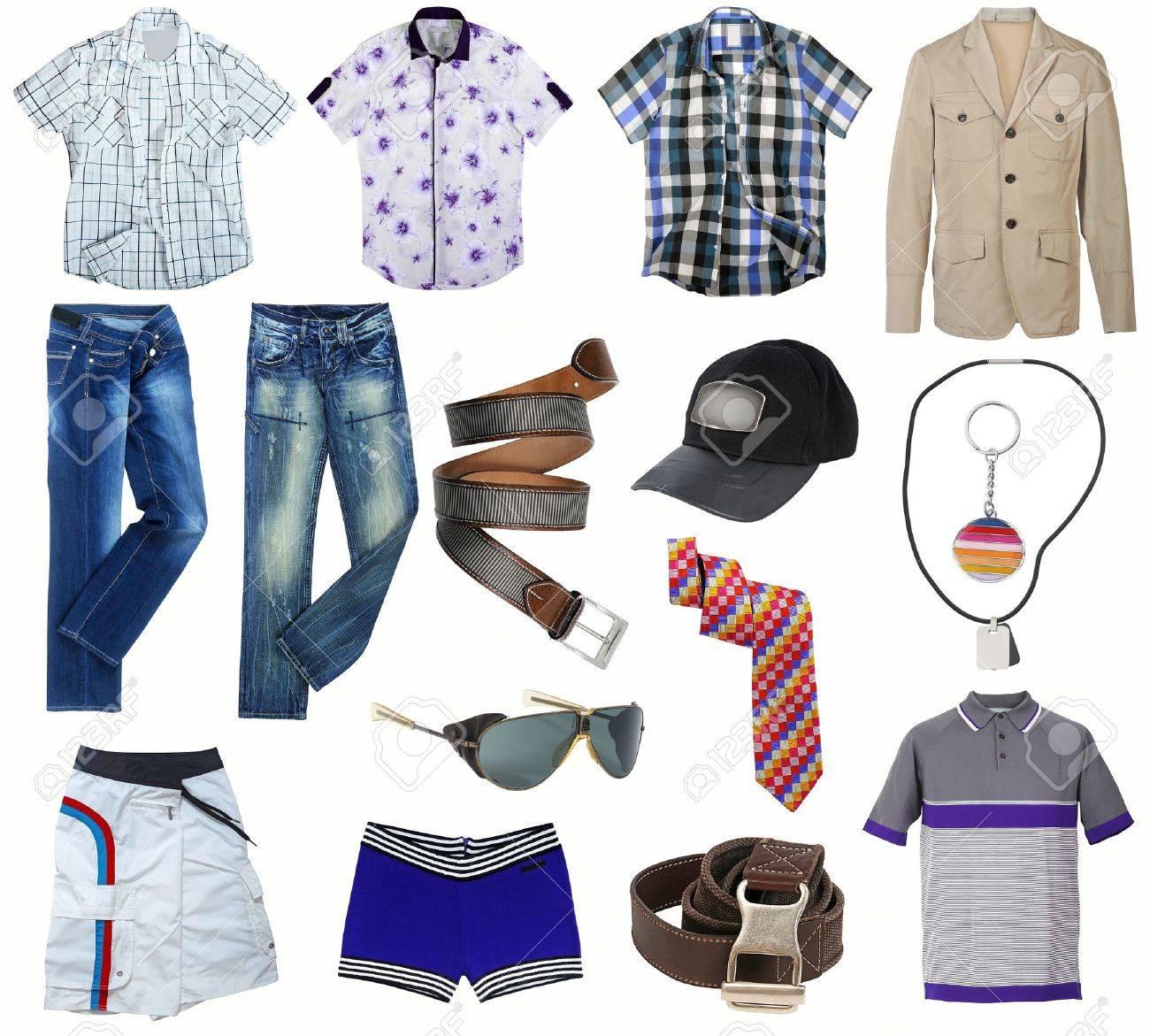 87c43f2fc9 Colección de ropa masculina aislado en blanco Foto de archivo - 17014449