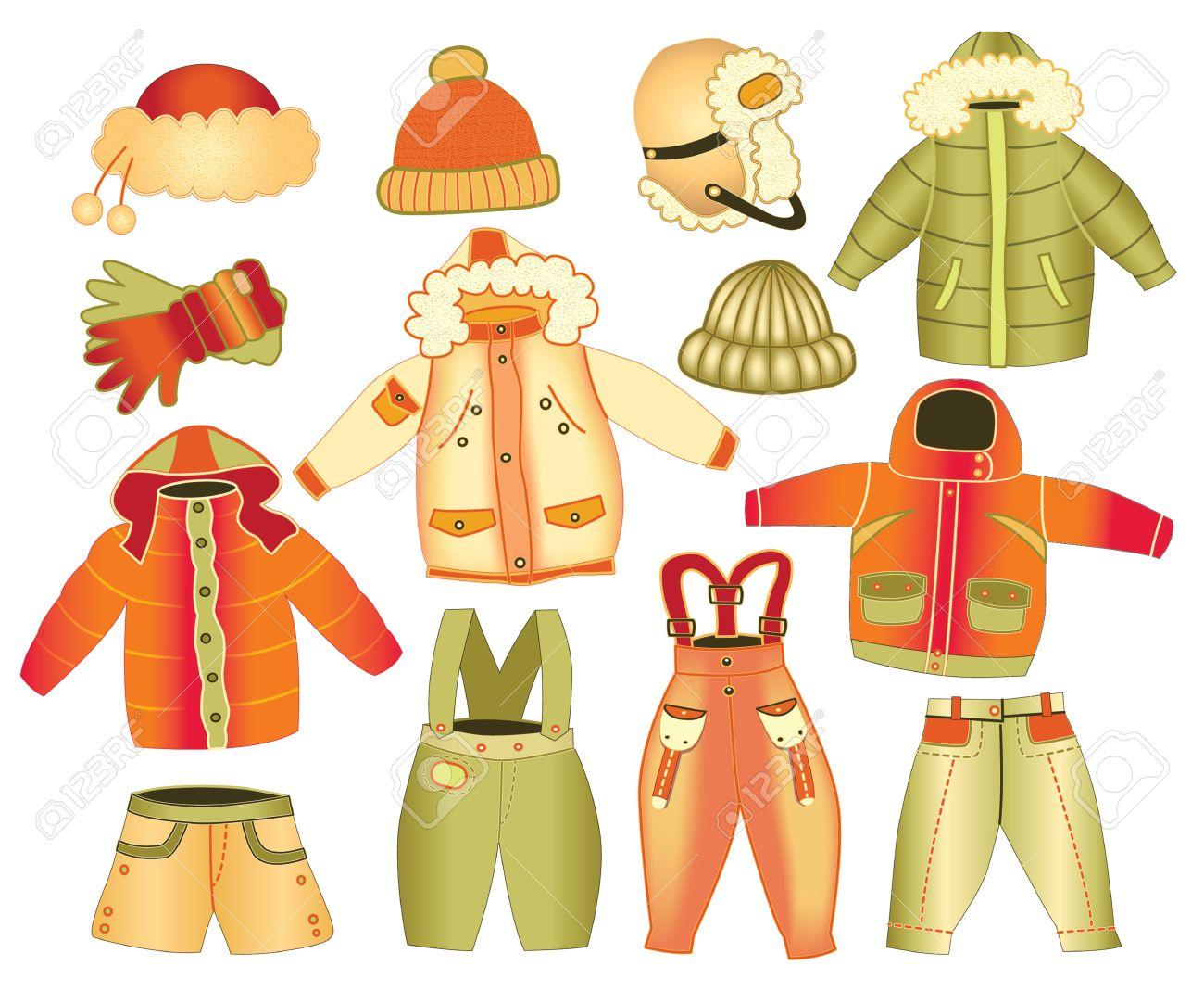 Kinderkleidung clipart  Sammlung Von Winter-Kinderbekleidung Lizenzfrei Nutzbare ...