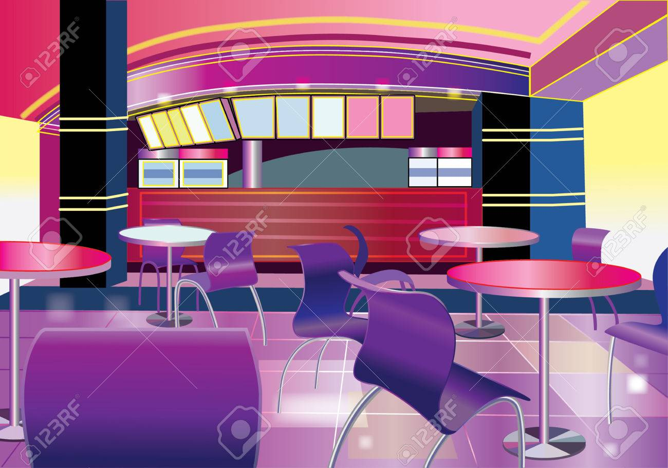 interior of a modern bar (vector illustration) royalty free