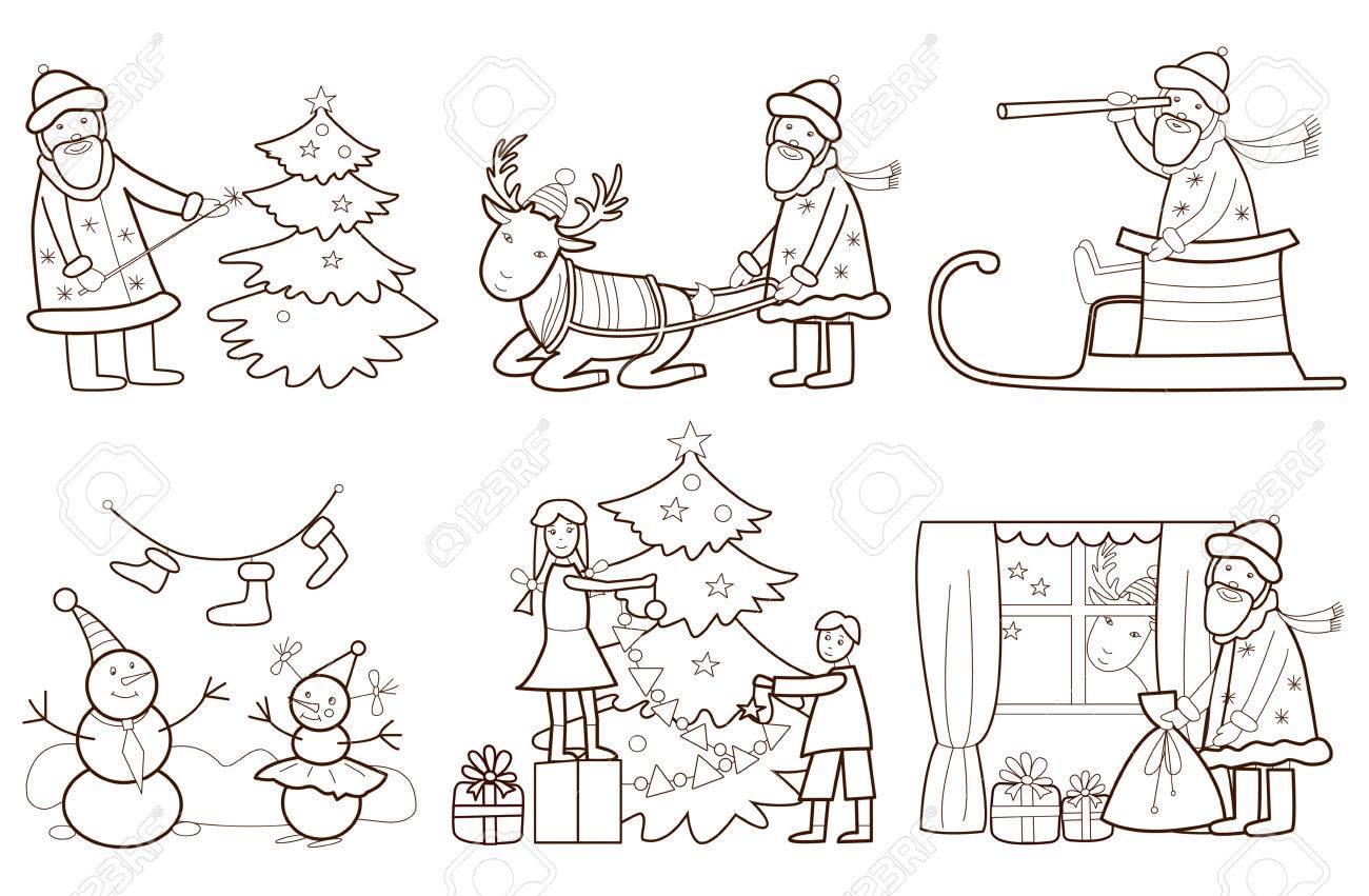 Conjunto De Ilustración De Navidad Con Santa Claus Y Los Renos Libro ...