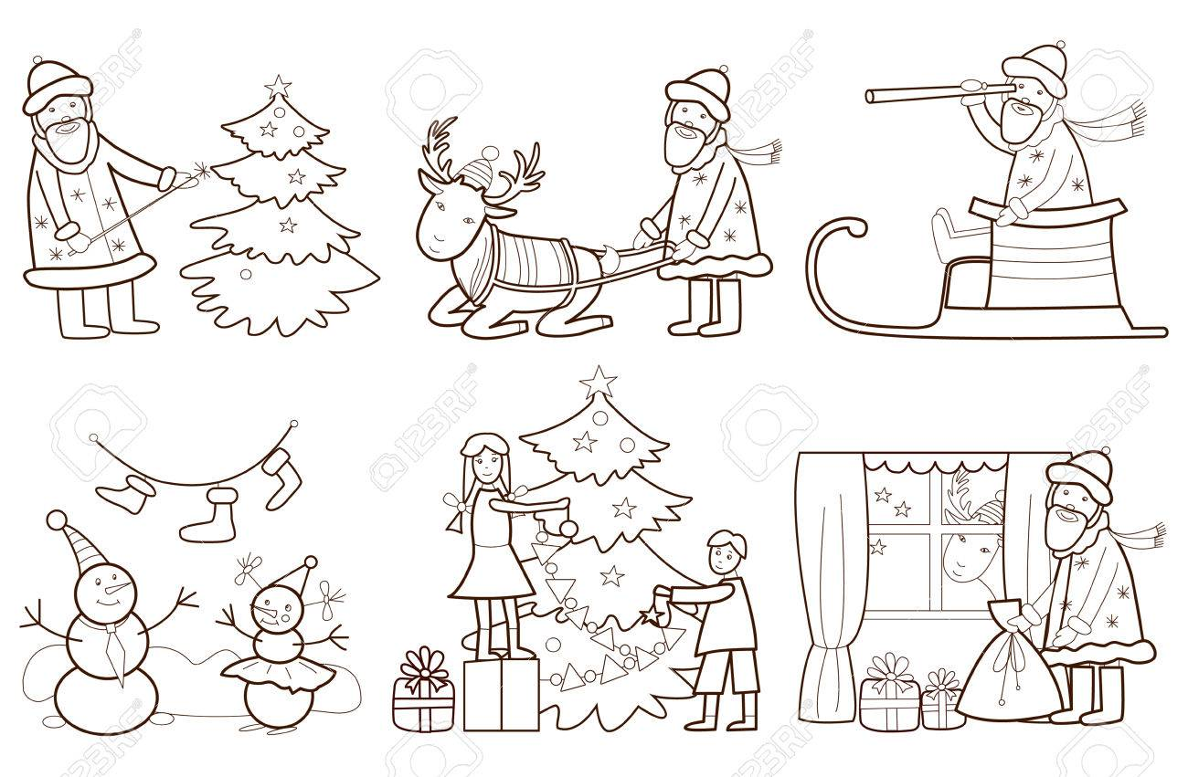 Set Of Christmas Illustration With Santa Claus And Reindeer Coloring