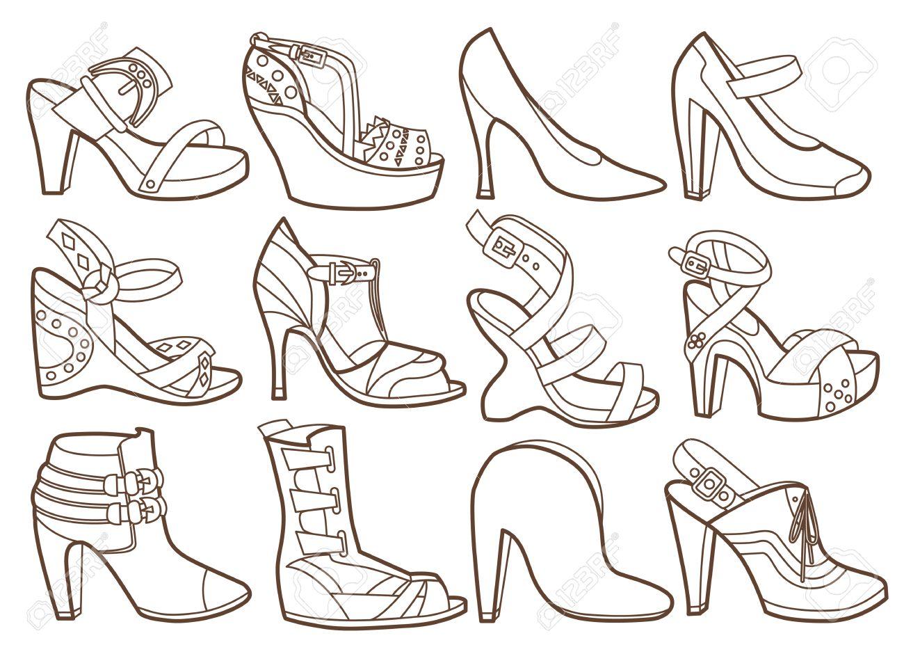 Libro Para Colorear Colección De Zapatos De Moda Ilustraciones ...