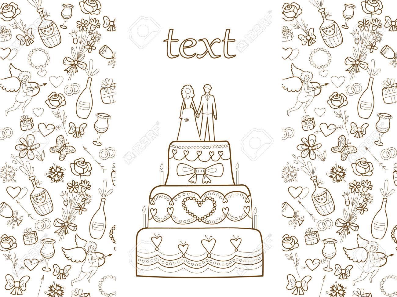 coloring book wedding : Vector Wedding Card Coloring Book