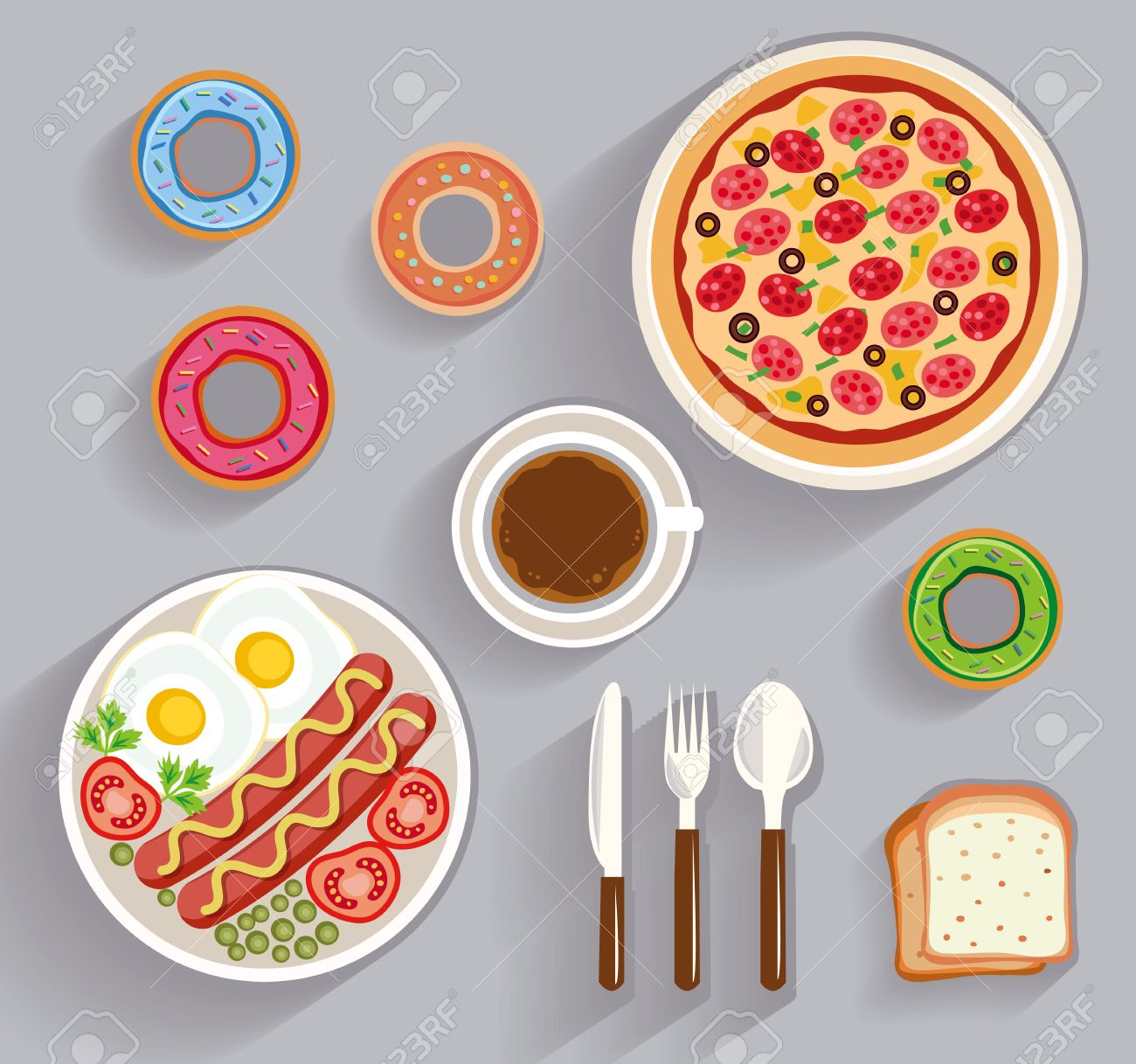Dining Table Top View business lunch, dinner table - top view (flat concept, vector