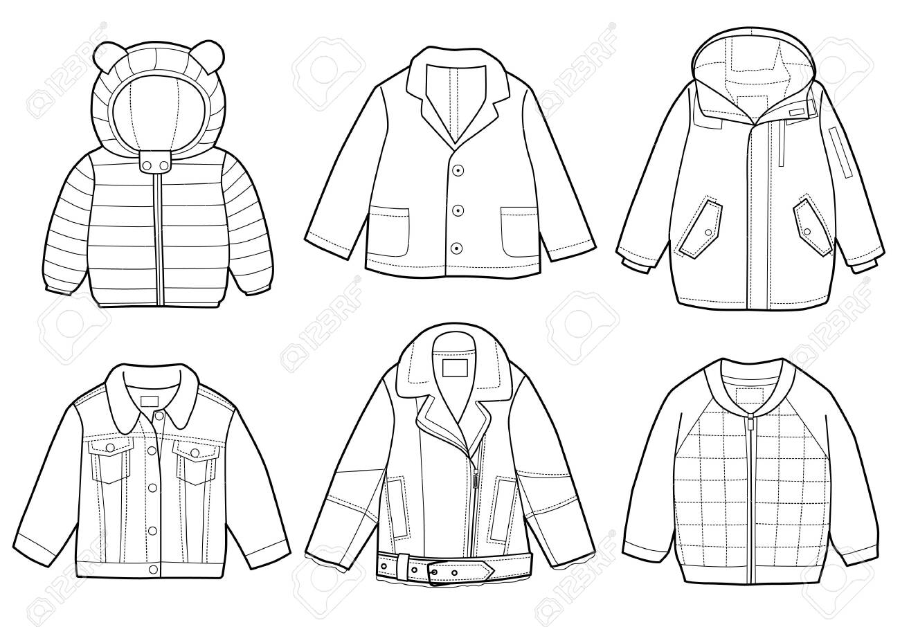 Collection of fashionable children's clothing, vector illustration, coloring book - 125469597