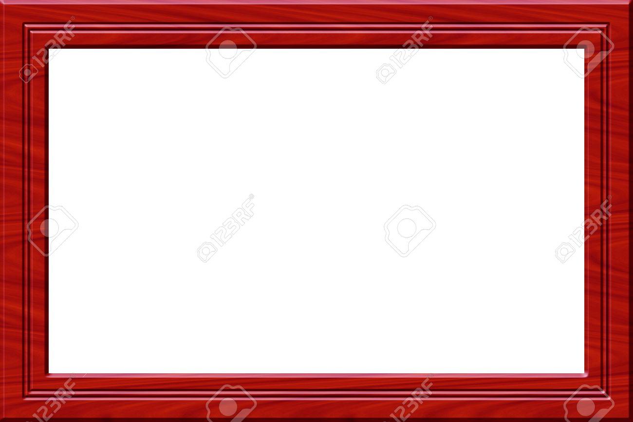 Marco Rojo De Madera Para Cuadros O Imágenes Aisladas En Blanco ...