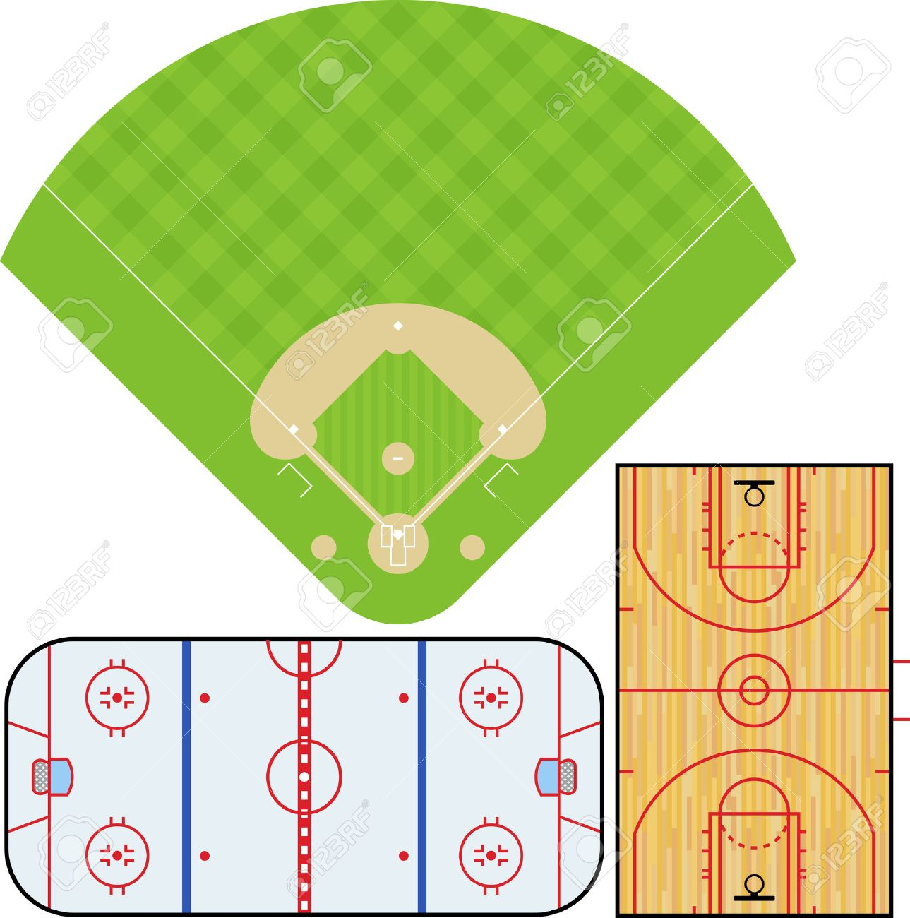 illustration of Baseball field, Basketball court, and Ice Hockey rink. Accurately proportioned. Stock Vector - 7587854