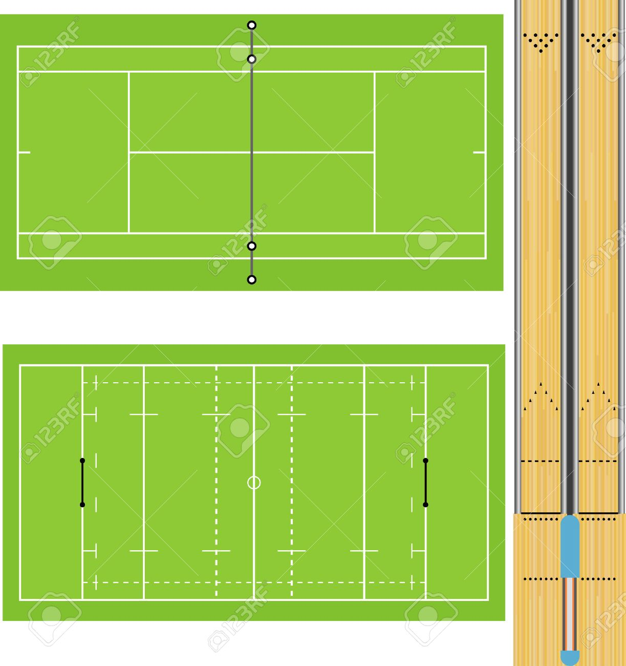 テニスコートラグビー場10 ピンのボーリングの車線のイラスト正確