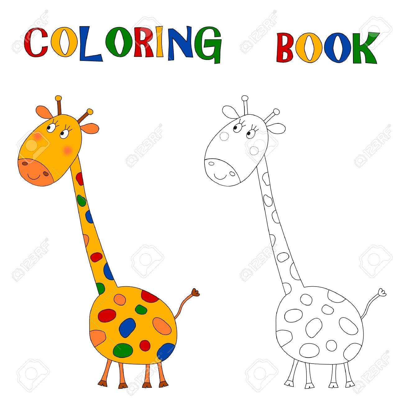 giraffe coloring book stock photo picture and royalty free