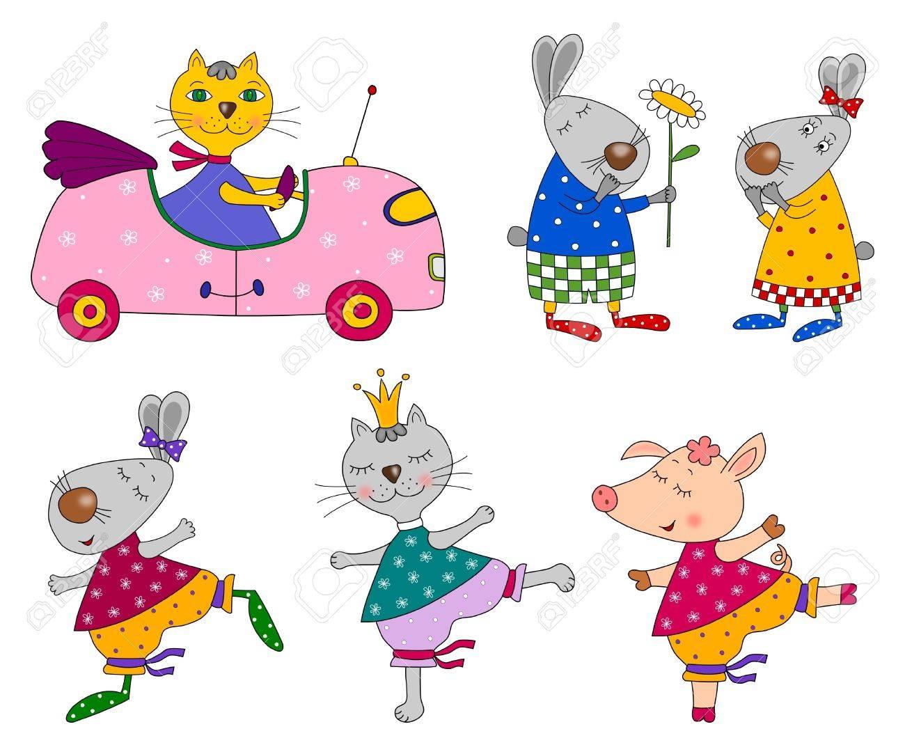Set of animals  Cartoon characters Stock Photo - 14837634