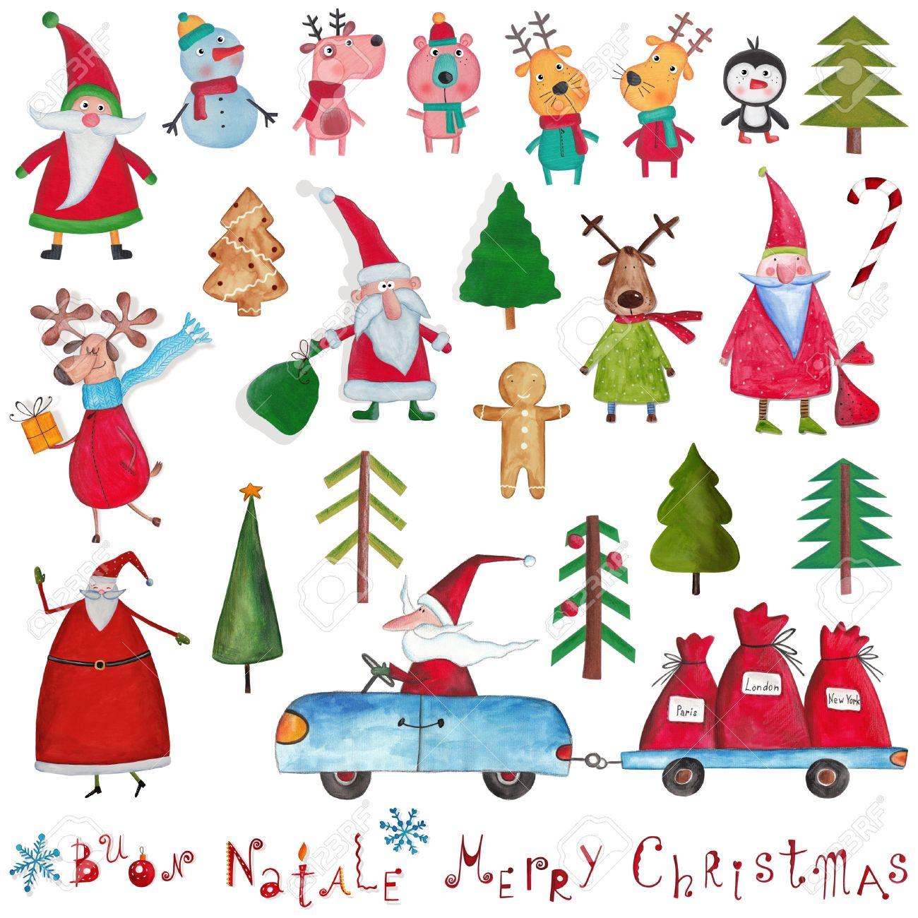 Christmas Decorative Items Over White Stock Photo