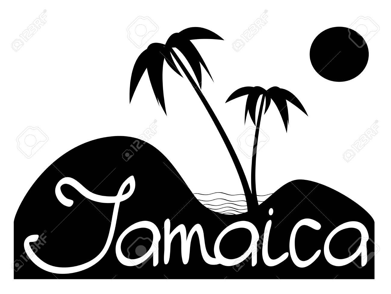 Jamaica black and white composition witn palms sand and sea stock vector 61102185