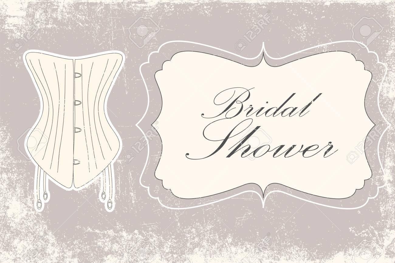 bridal shower vintage invitation illustration vector format stock vector 26229246