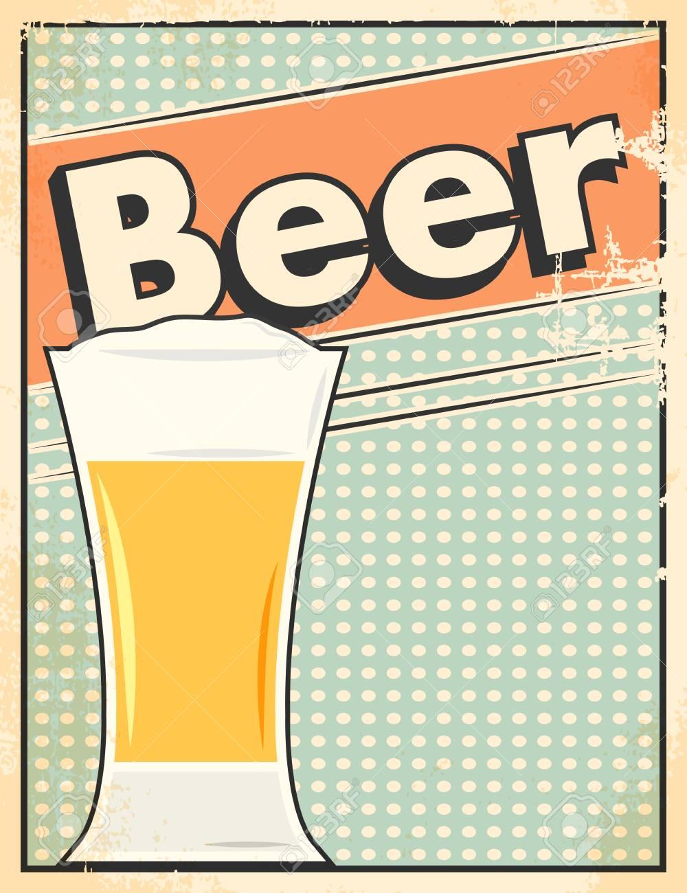ビール レトロなポスターベクトル形式のイラストのイラスト素材