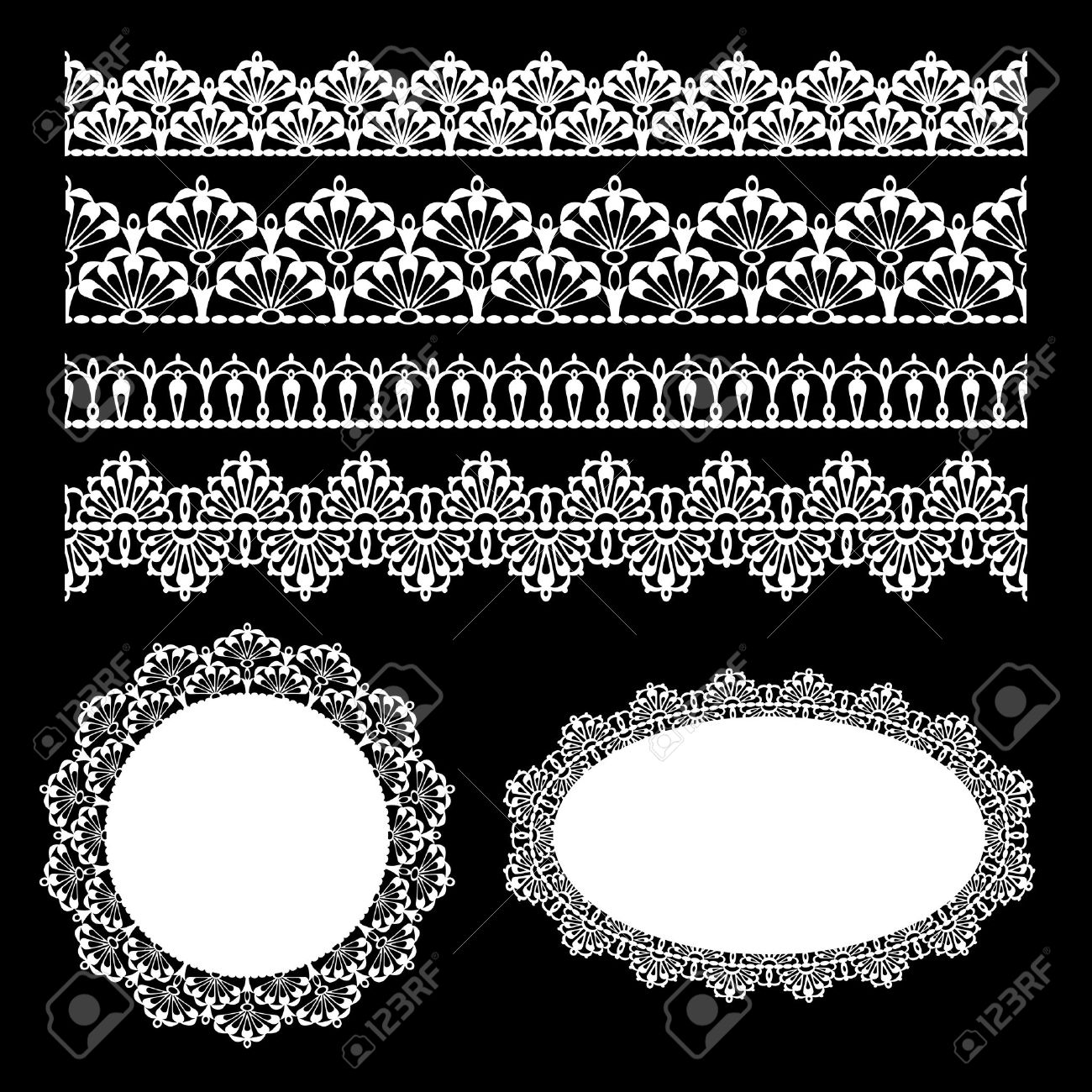 Set of lace trims  Elements can also be used as Illustrator brushes vector Stock Vector - 13171848