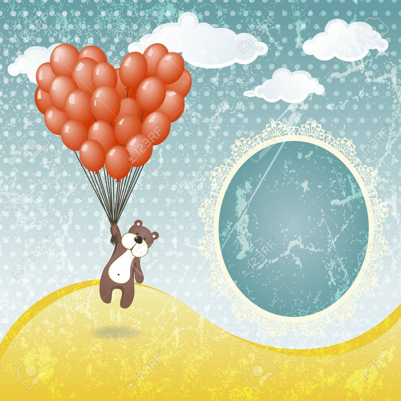 Cute teddy bear with a balloon  illustration in vintage style Stock Vector - 13927552