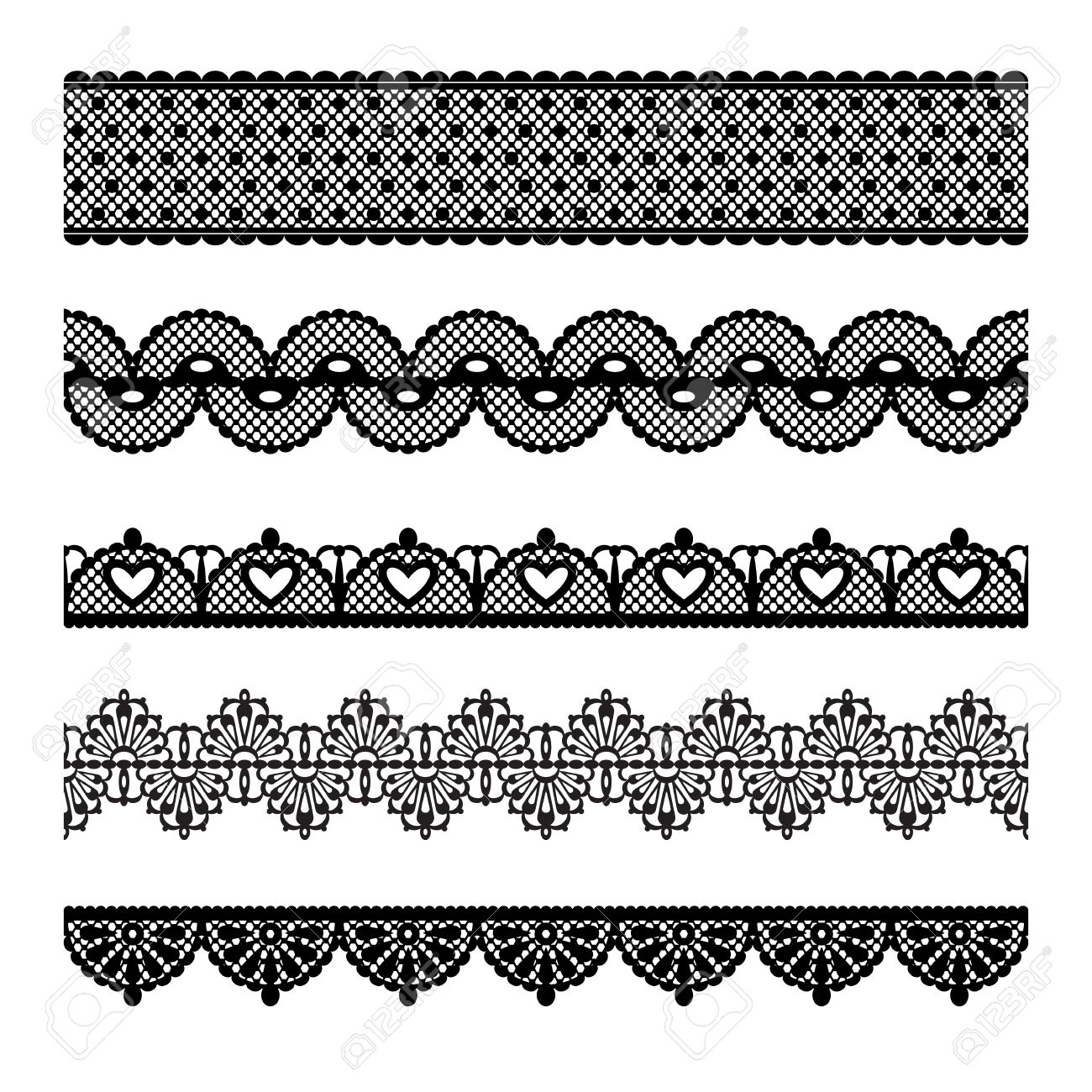 Set of lace trims  Elements can also be used as Illustrator brushes Stock Vector - 13927580