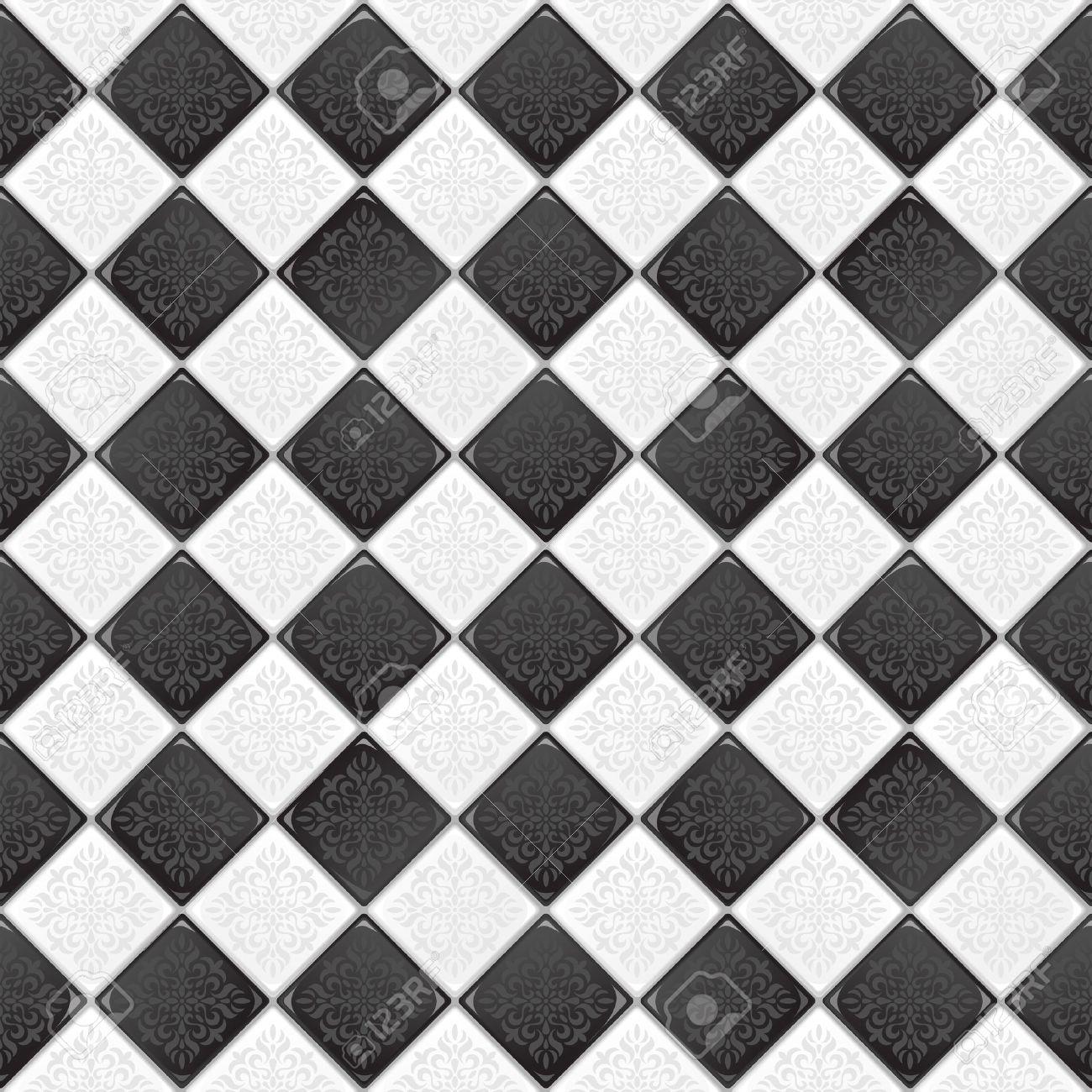 Carrelage Noir Blanc carrelage noir et blanc avec l'ornement victorian rétro clip art