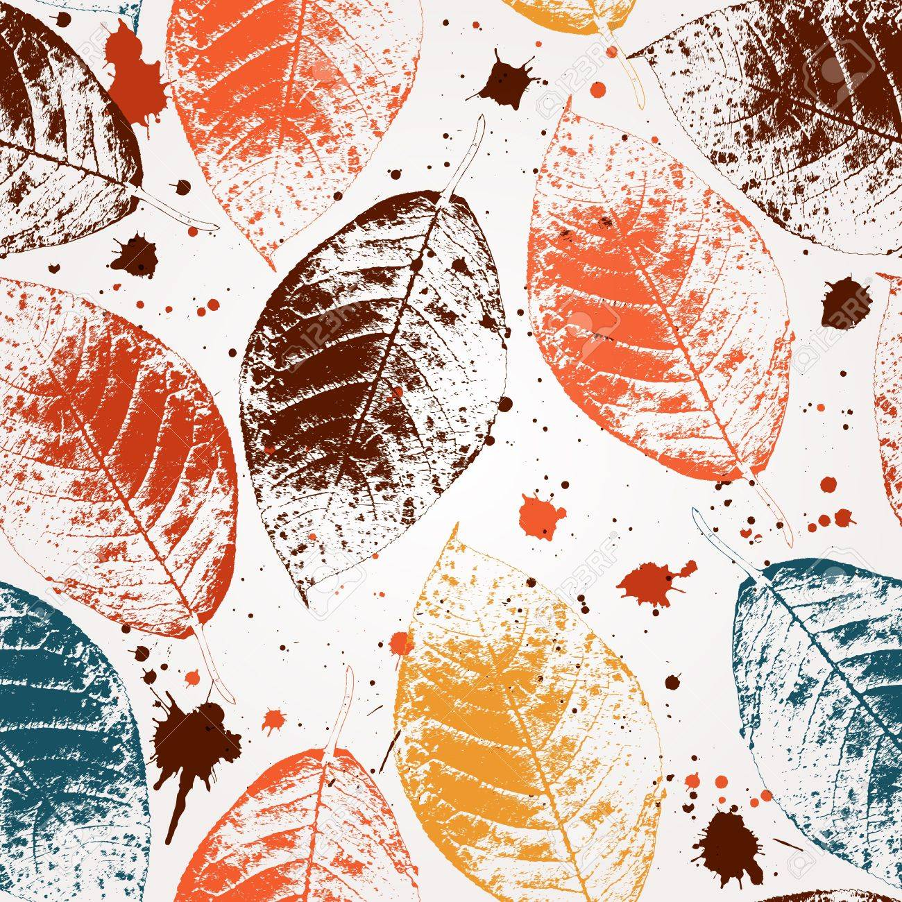 Seamless pattern with colored autumn leaves and blots Stock Vector - 14970345