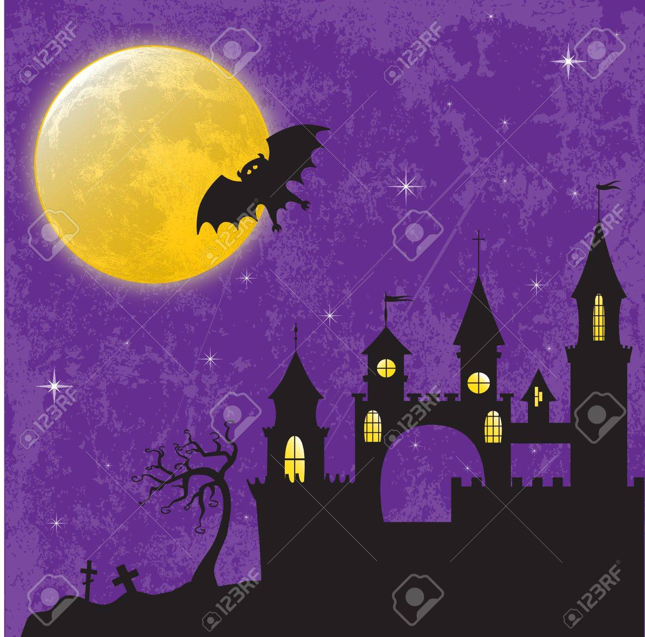 Gothic Castle In The Moonlight Illustration For Halloween Design Stock Vector