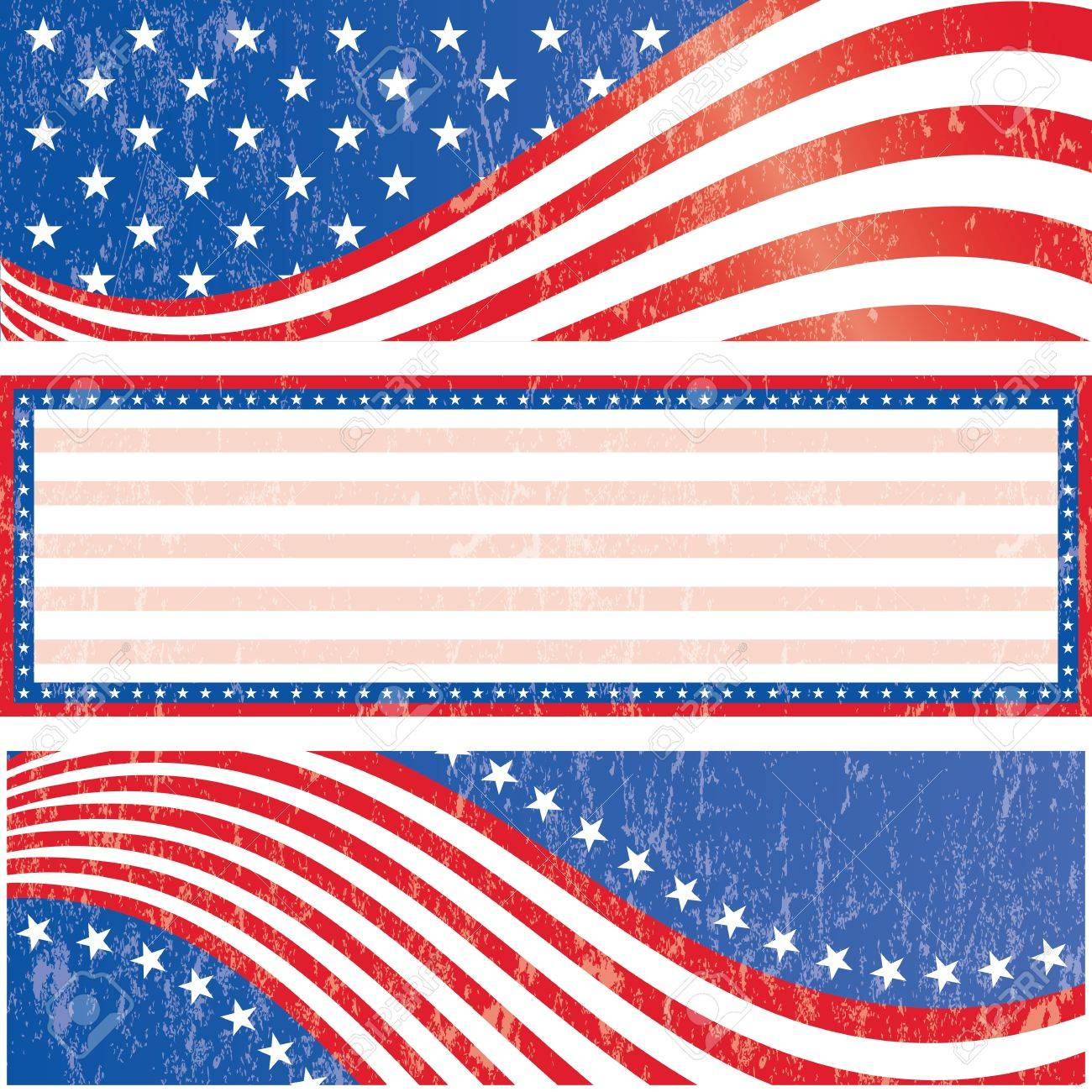 American flag banners set grunge style  Grunge effect can be removed Stock Vector - 16651340