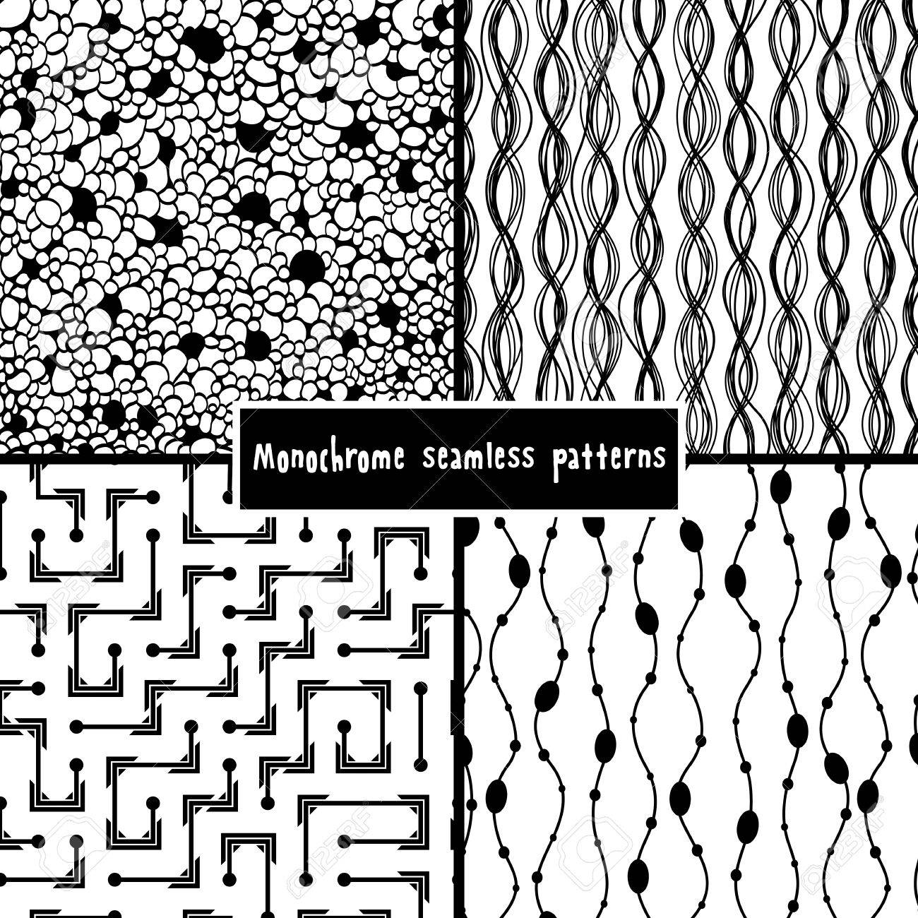 Set of four monochrome geometrical patterns Stock Vector - 18024655