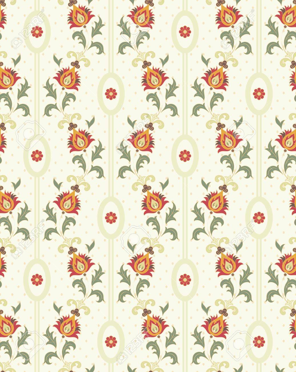 シームレスな花柄の図とレトロな壁紙のイラスト素材 ベクタ Image