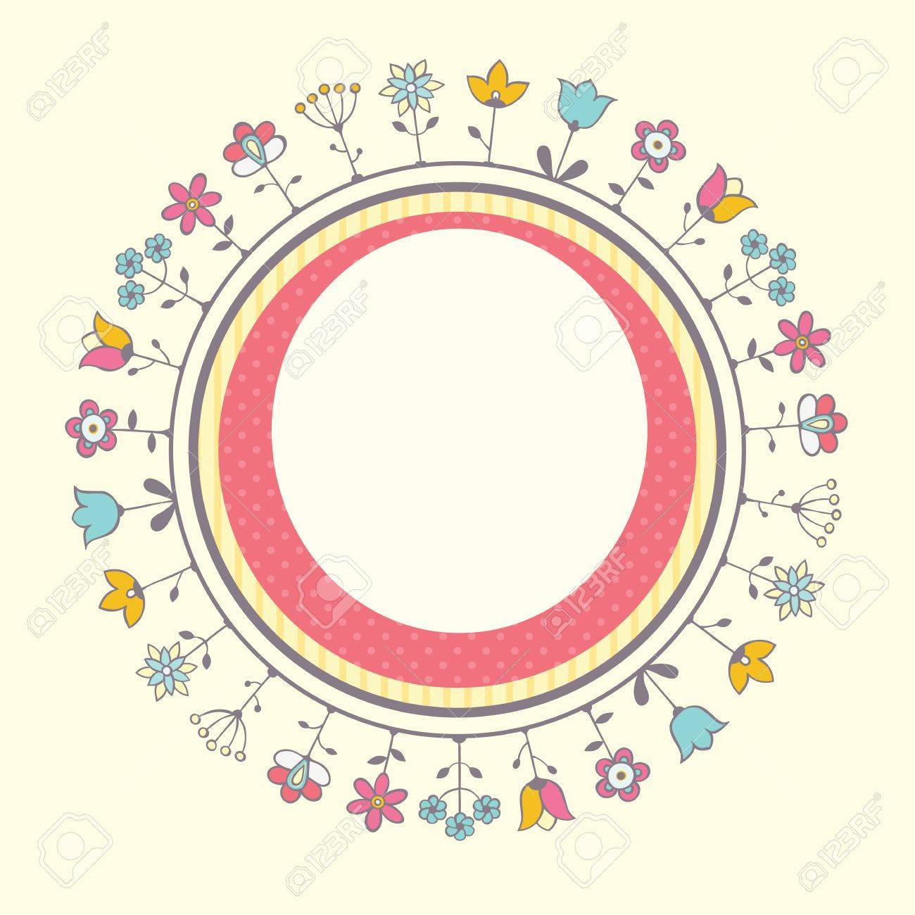 Baby Shower Card Template With Floral Frame. Stock Vector   26530429