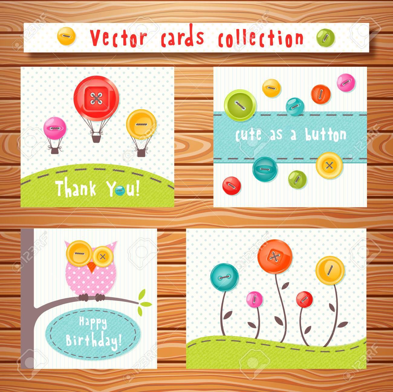Vector Tarjetas De Colección Con Botones Lindos Colores Sobre Fondo ...