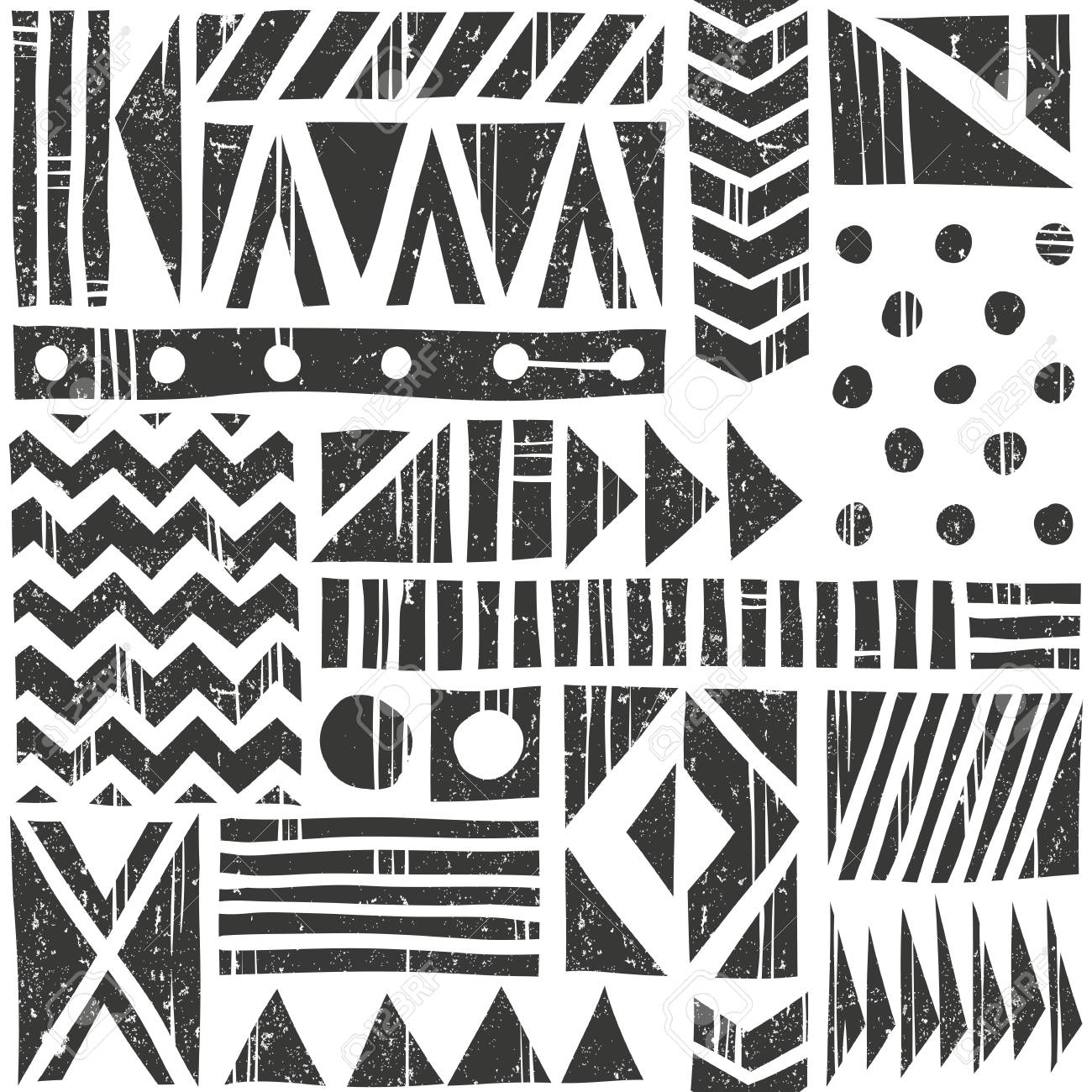 Vector seamless tribal pattern. Abstract background with different geometric shapes. Hand drawn illustration. Contains no transparency and blending modes. - 60901180