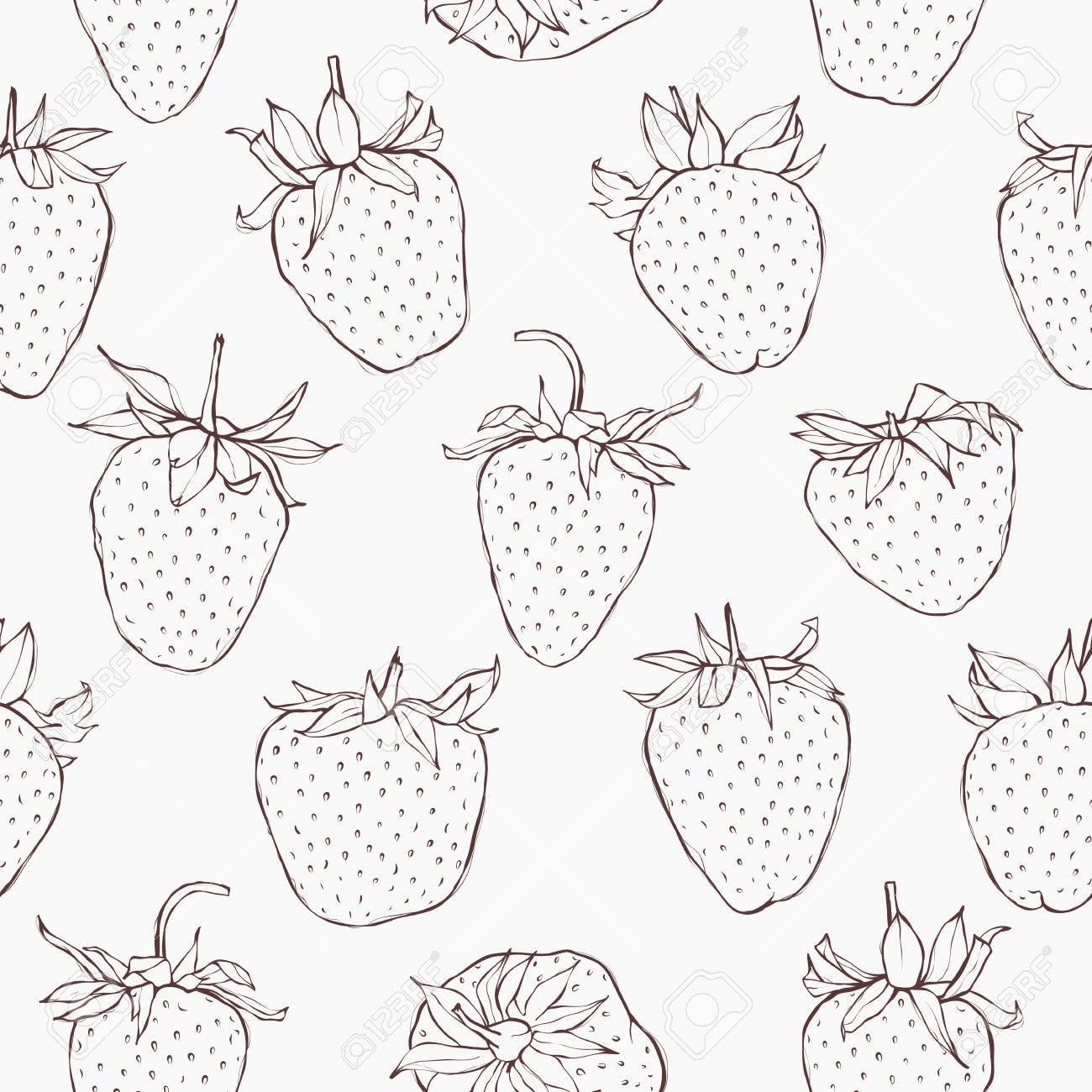 イチゴとのシームレスなパターン 手描きのモノクロ壁紙です Eps 10