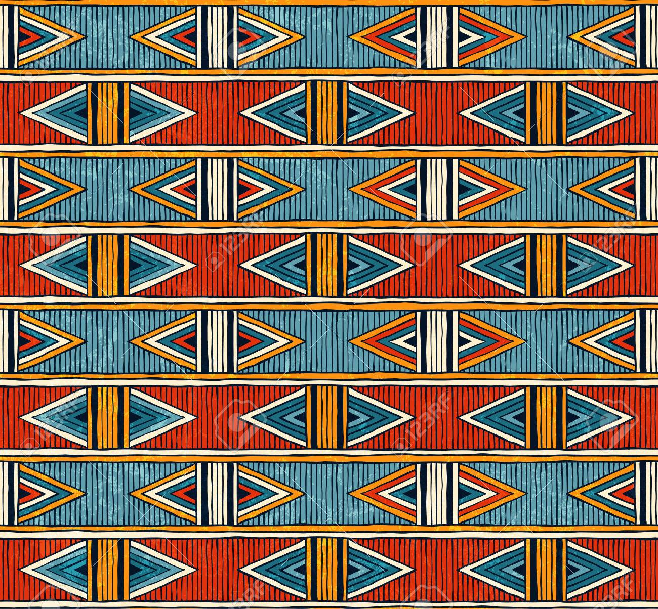 Tribal seamless pattern. Colorful abstract vector background. - 69473856