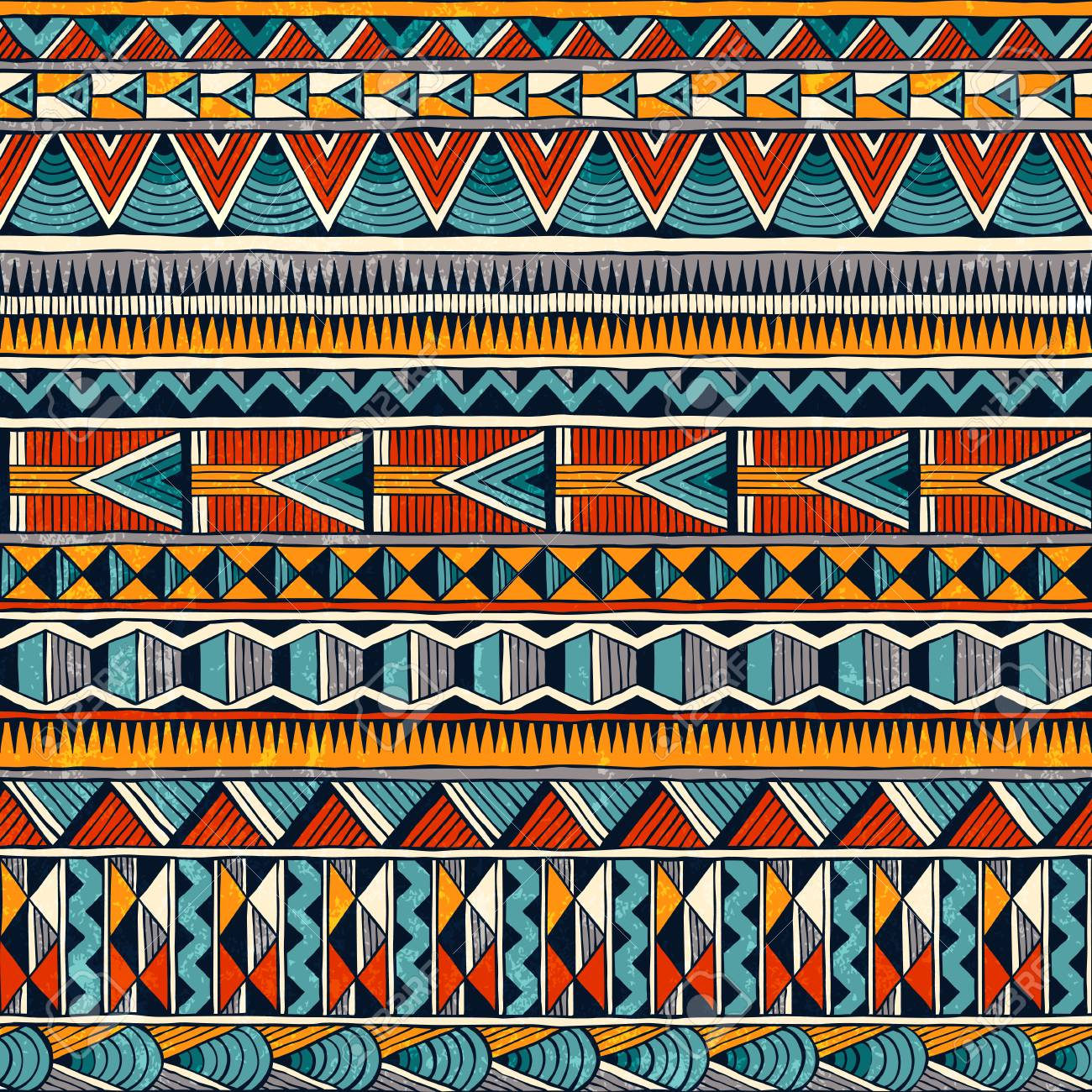 Tribal seamless ornament in vibrant colors. Abstract background in african style. - 87701862
