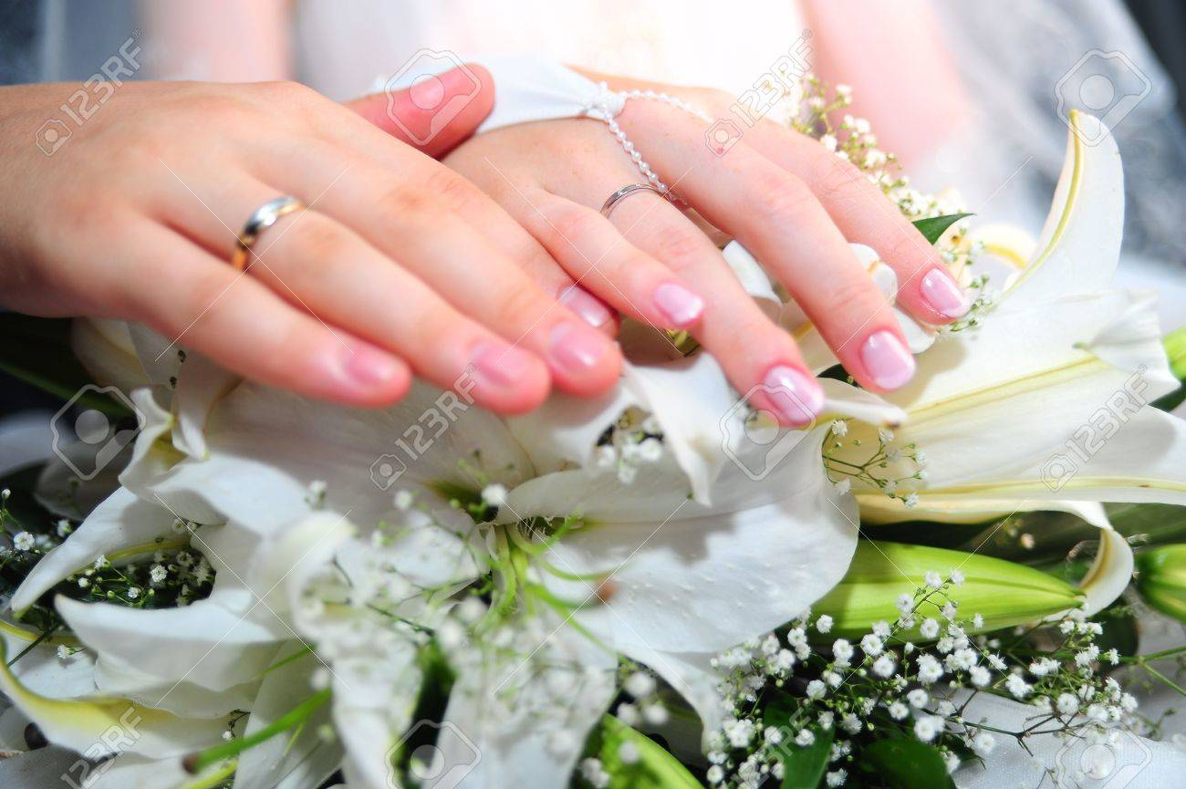 Hands Of A Newly-married Couple With Wedding Rings Stock Photo ...