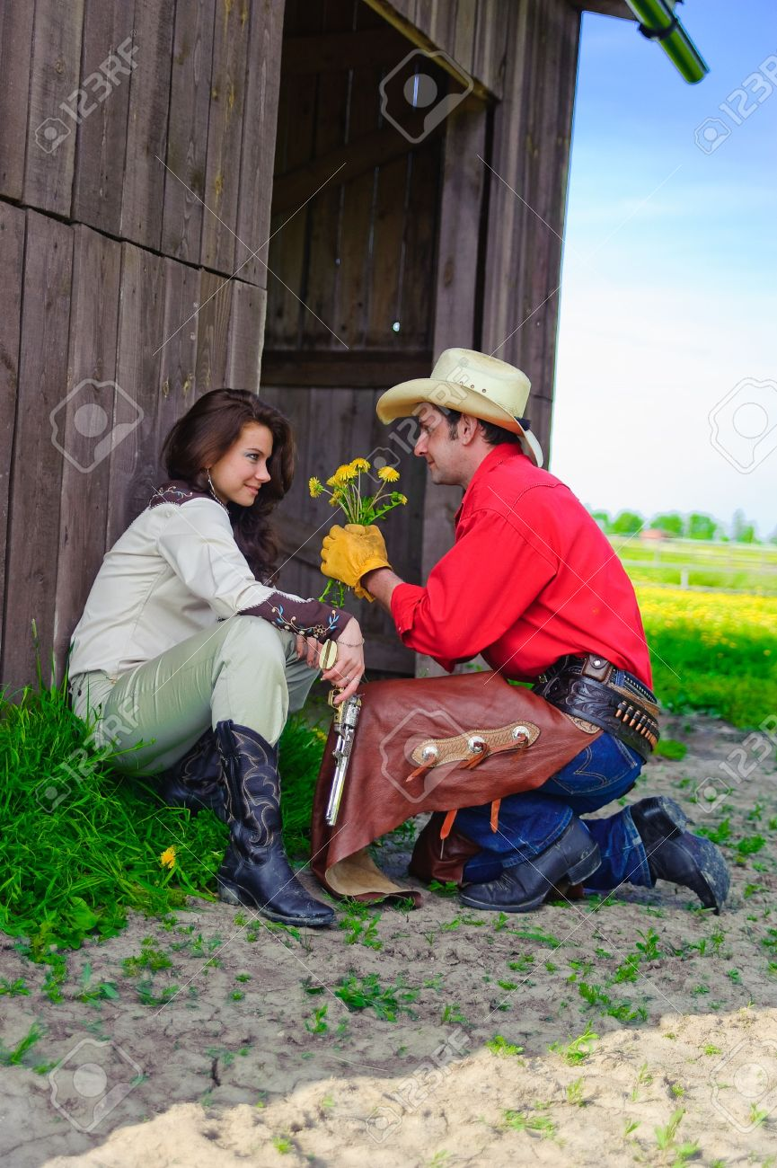 Love story in cowboy's style Stock Photo - 7642290