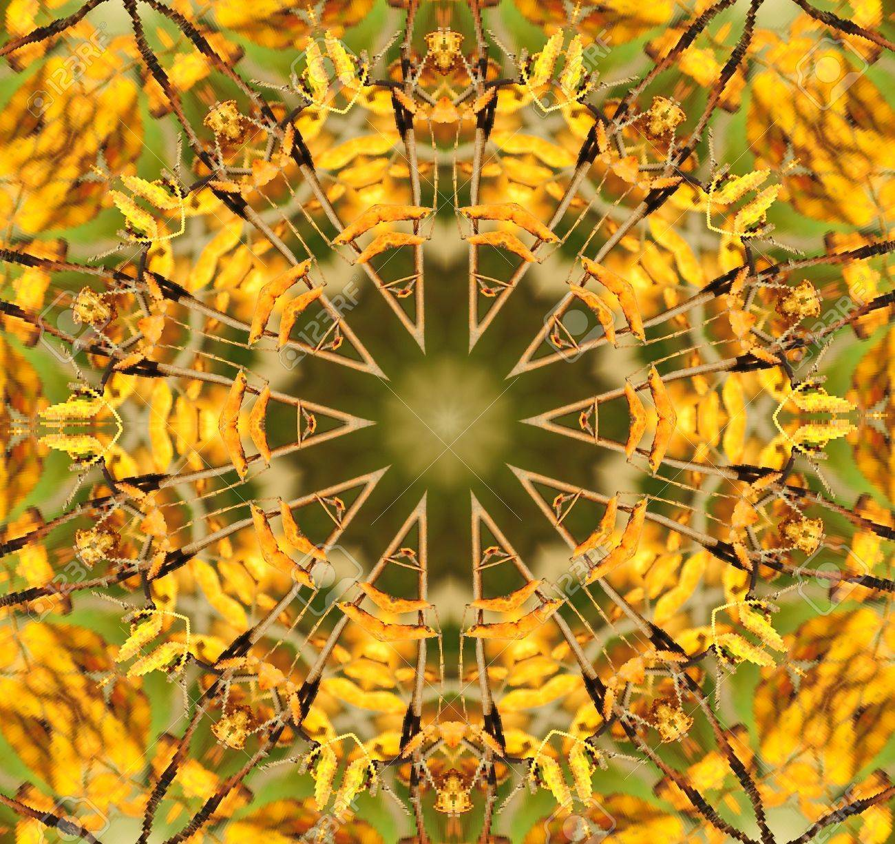 Kaleidoscope in pretty harvest colors of  yellow and green. Stock Photo - 8241127