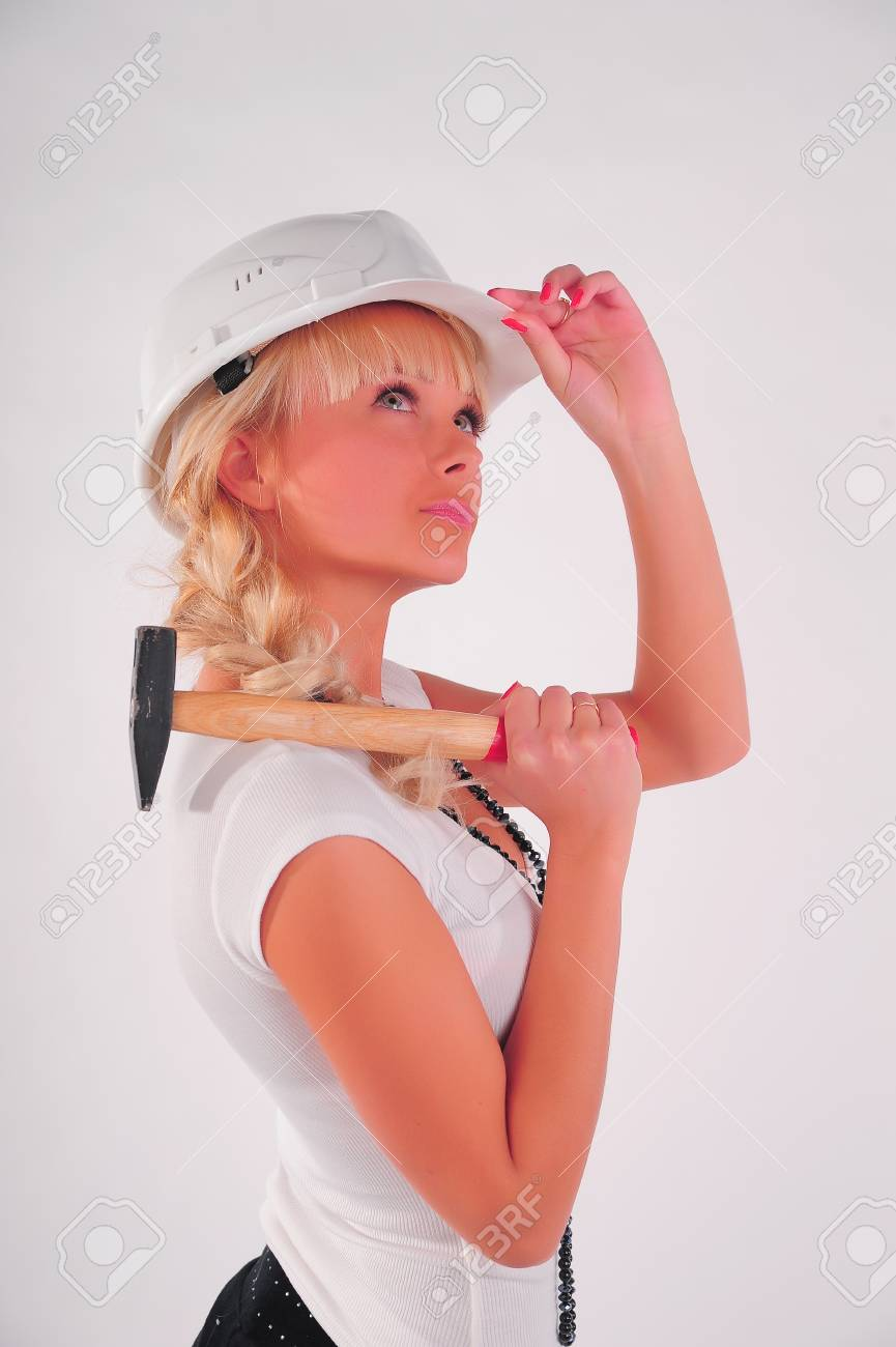 Architect with hammer Stock Photo - 8798981