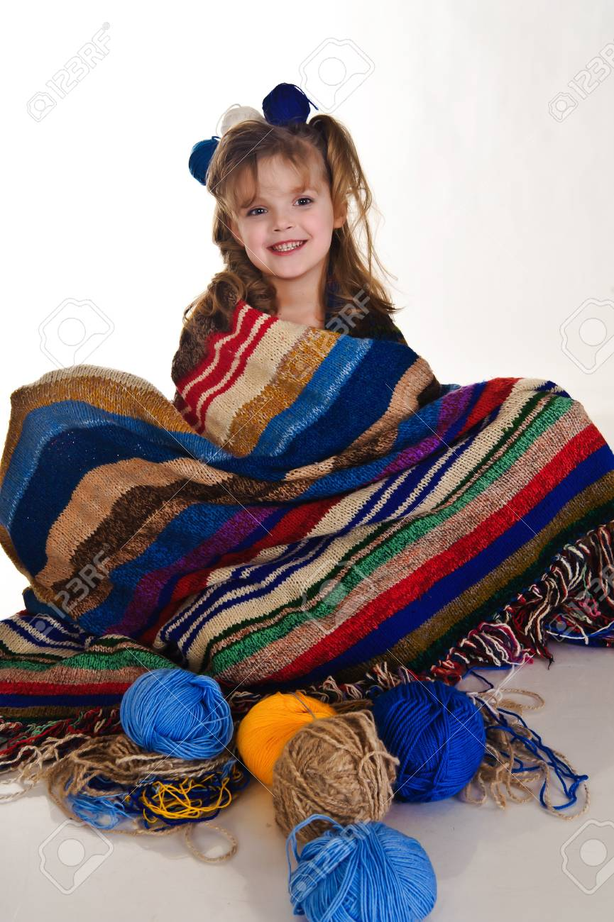 little girls play with balls of wool Stock Photo - 8934691
