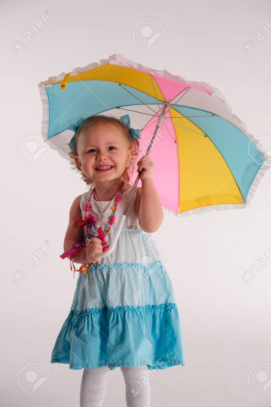 little girl with umbrella Stock Photo - 9214615
