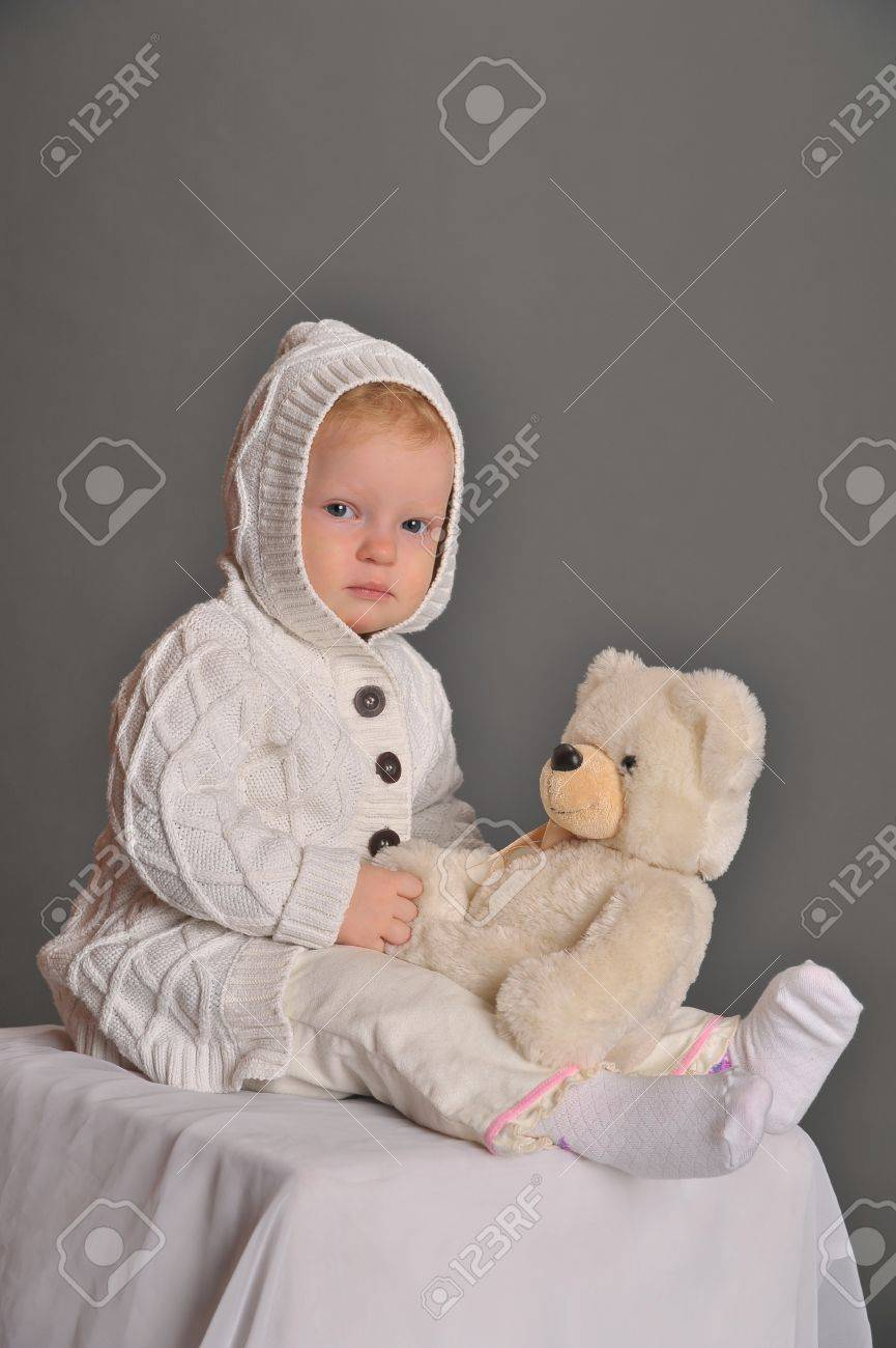 baby and teddy bear Stock Photo - 9381335
