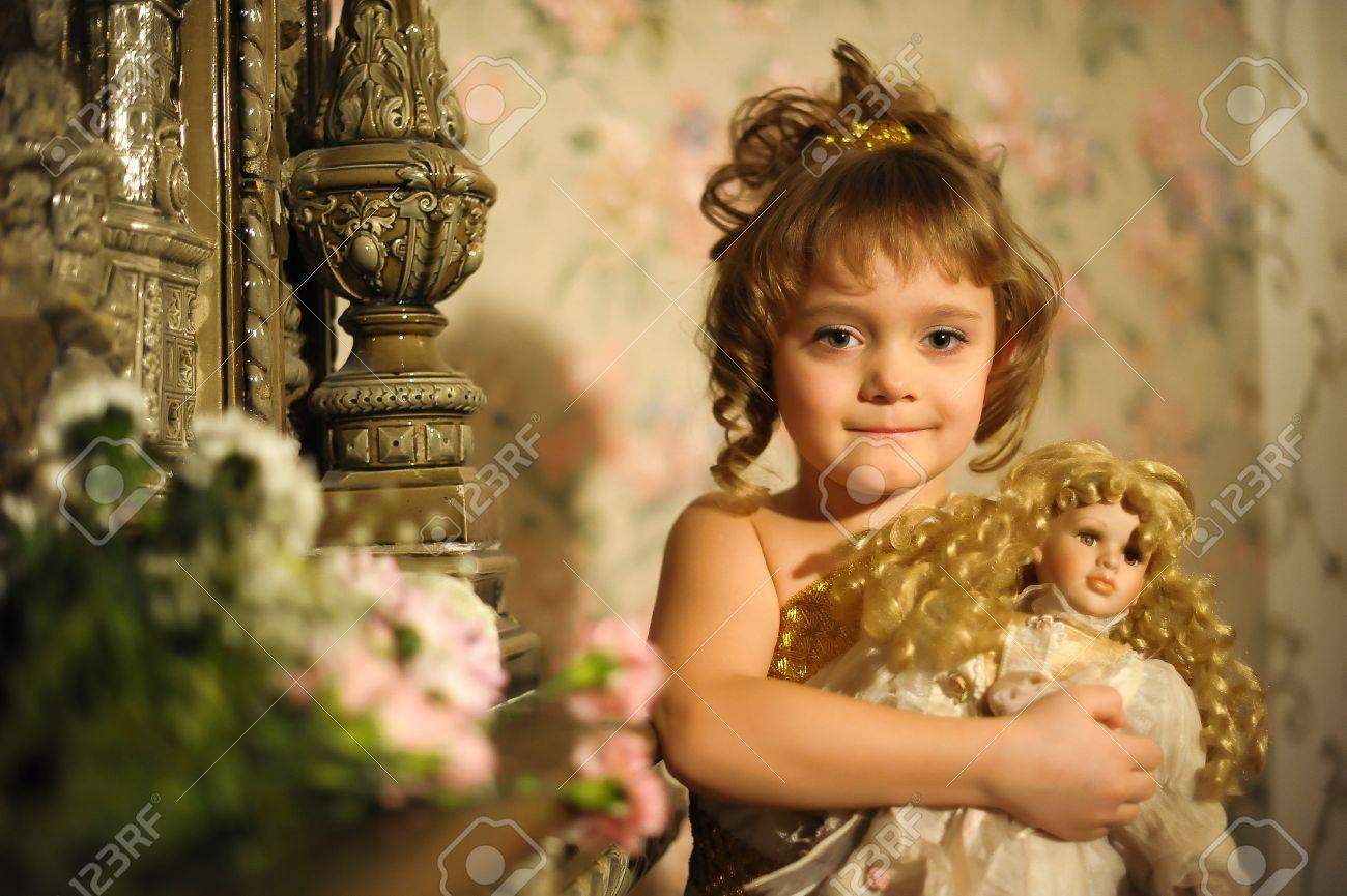 girl with a doll. Photo retro Stock Photo - 10510063