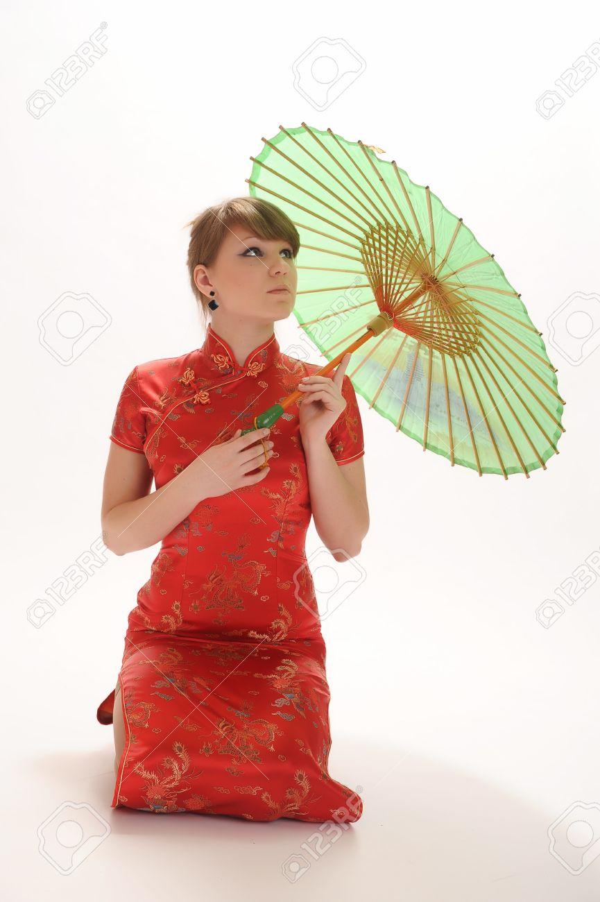 Chinese girl with umbrella Stock Photo - 10792512