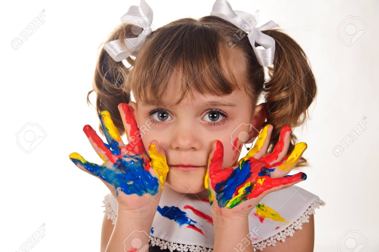 Little girl with her hands painted Stock Photo - 9421507