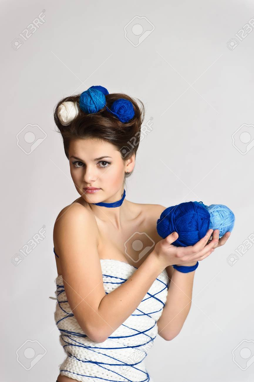 Fashion woman in knitting style Stock Photo - 10584590