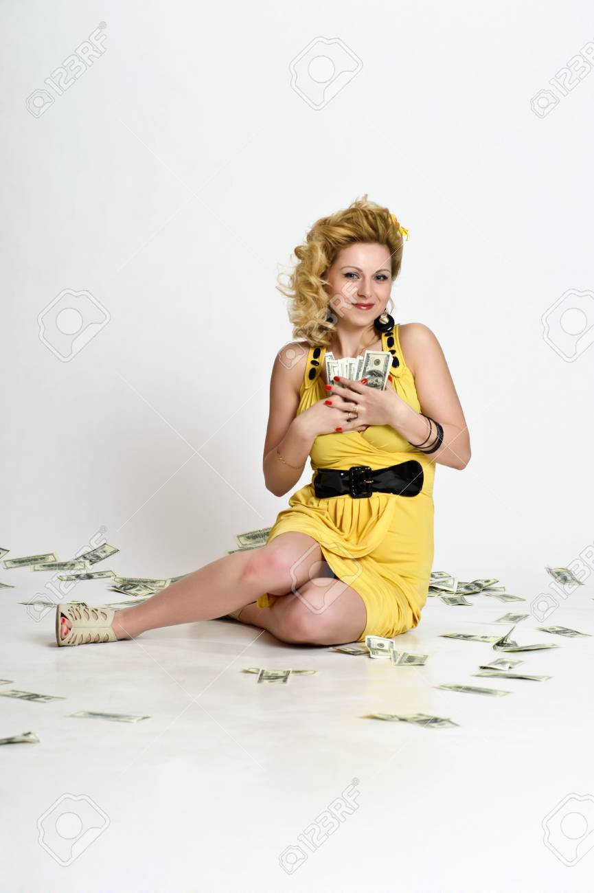 young woman with dollars Stock Photo - 10509836