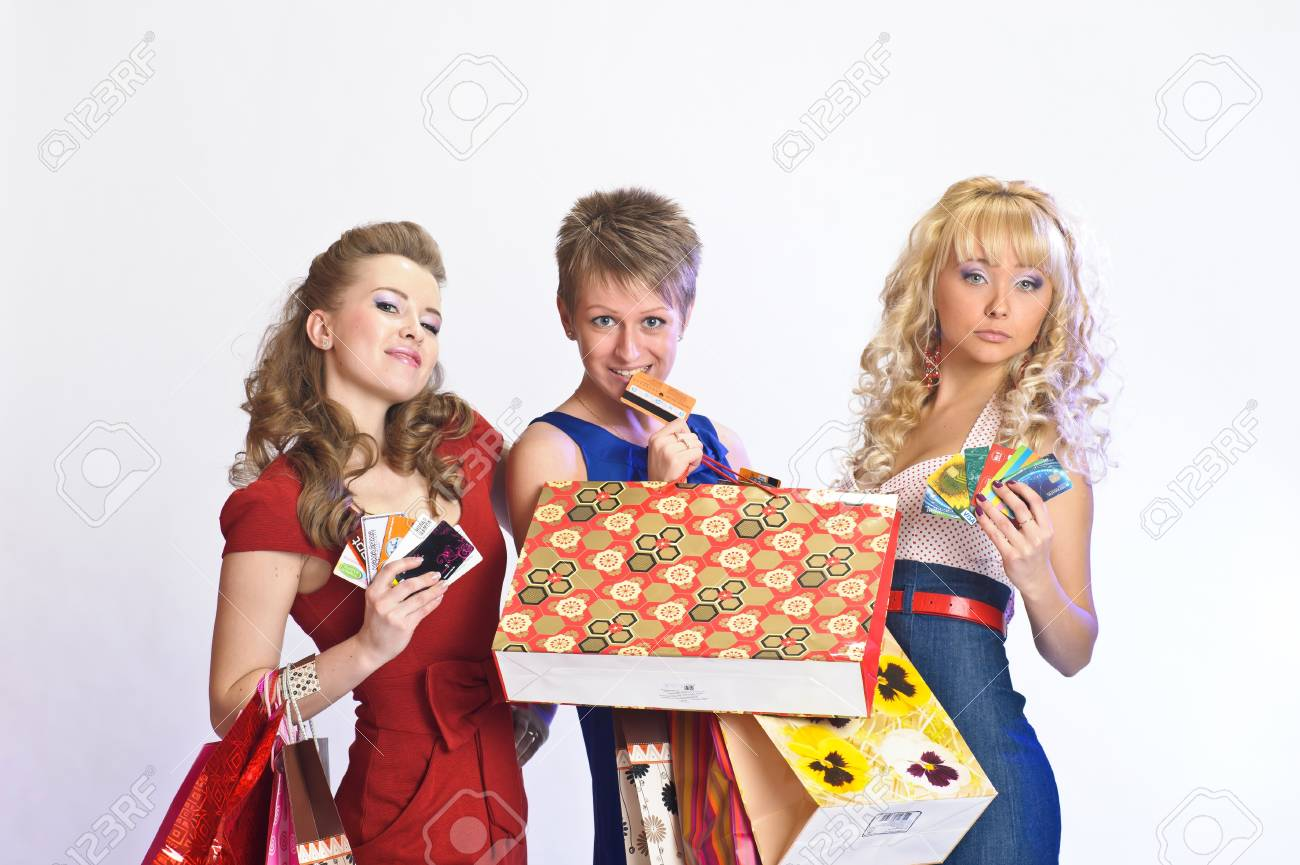 three friends after shopping Stock Photo - 10509702