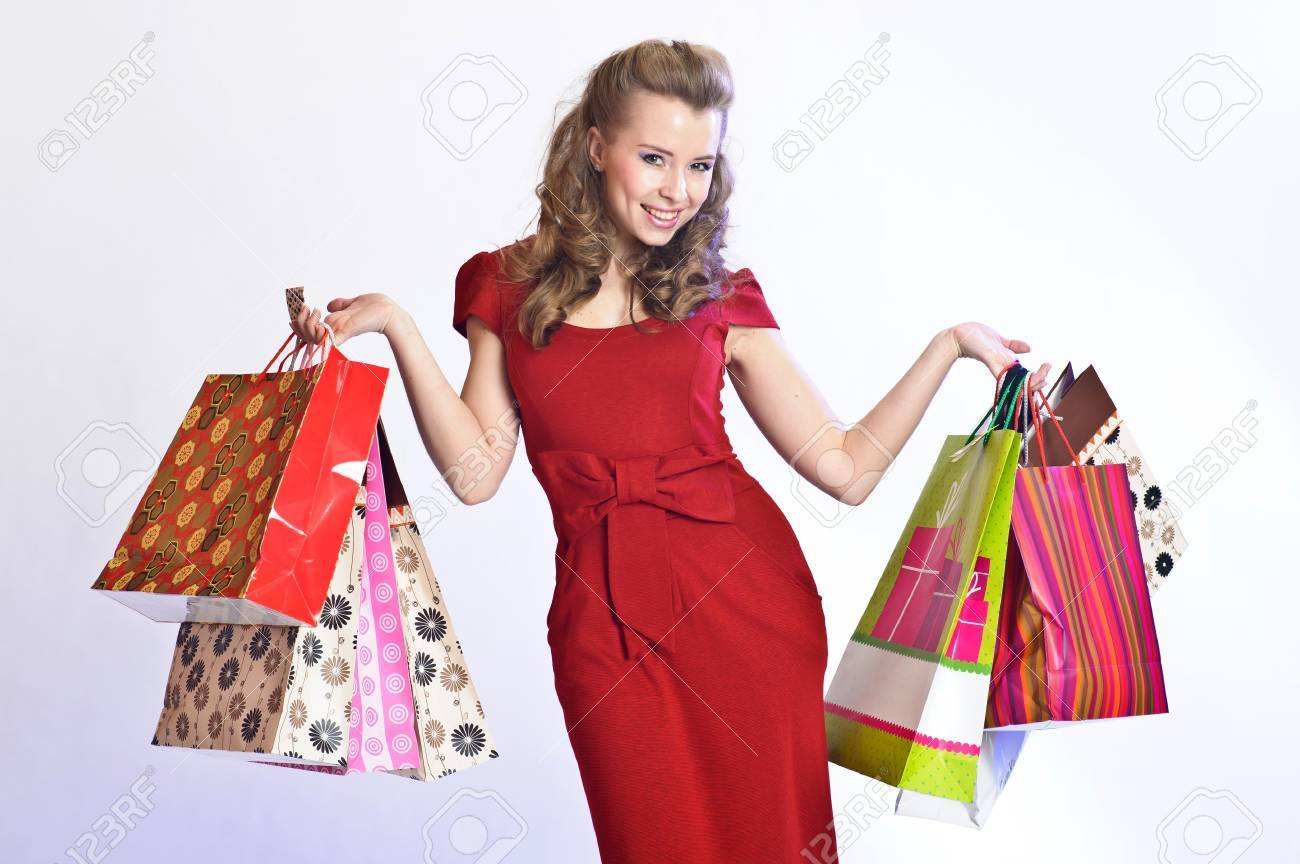 happy girl with shopping Stock Photo - 9582221