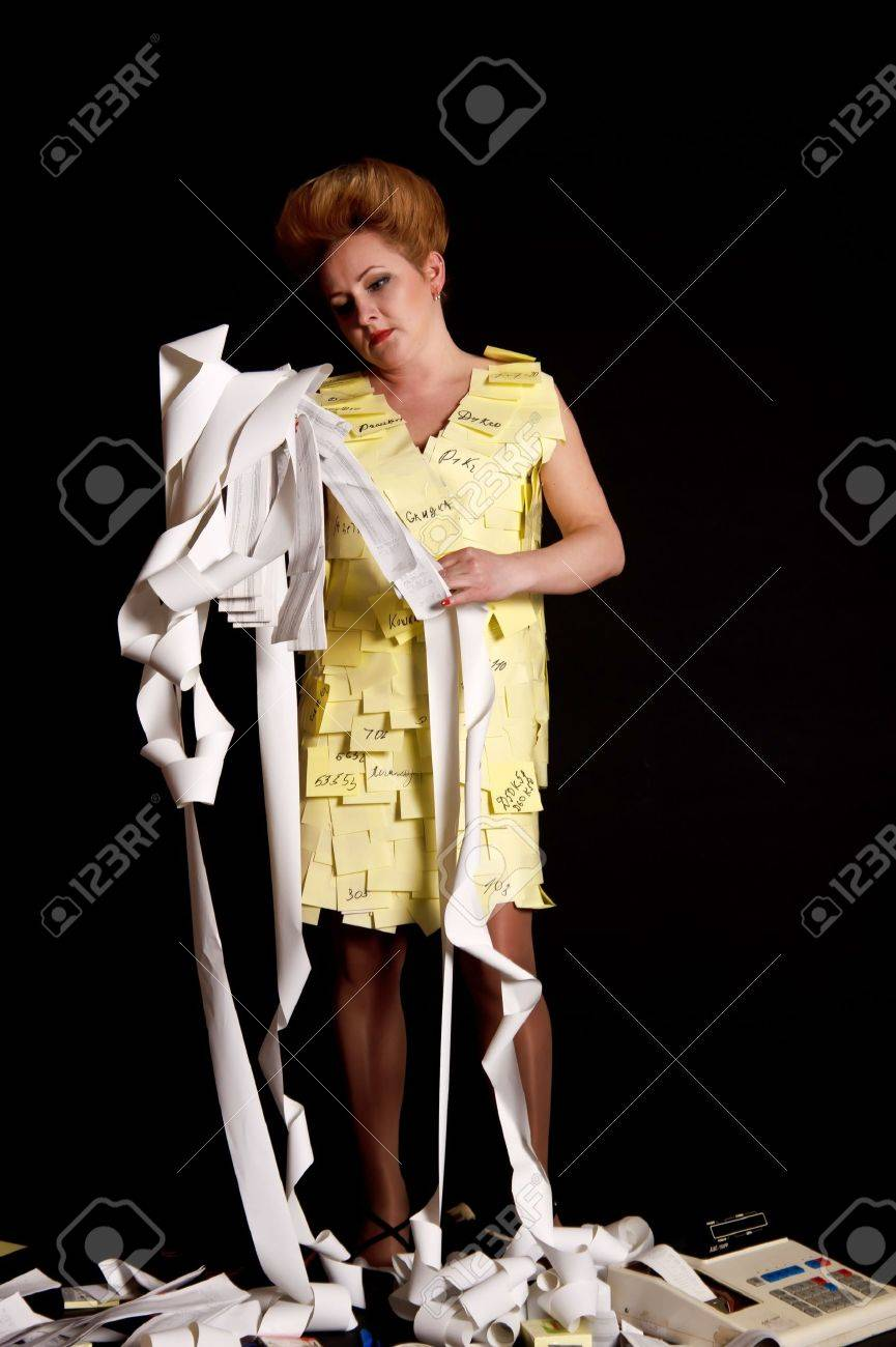 The woman has got confused in cash tapes Stock Photo - 10243554
