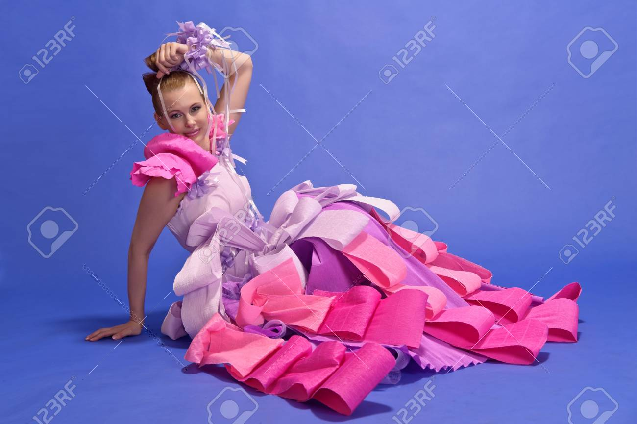 Young Woman  like a doll in pink dress Stock Photo - 13684165